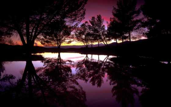 красивые, закат, everything, природа, солнца, озере, отражением, коллекция,