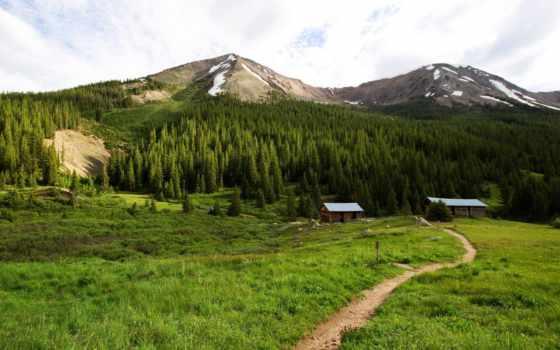 горы, landscape, дорога, trees, house, природа, лес, небо, browse,