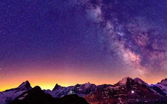 звезды, горы, небо, ночь, млечный, альпы, путь, свет,