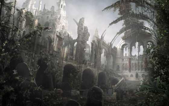 abandoned, fantasy, castle, осьминог, корабль,