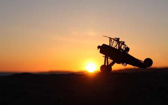 закат, картинка, небо, plane, полет,