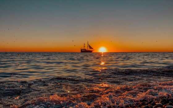 ipad, горизонт, закат, корабль, мини, море, air, восход, берег, пляж