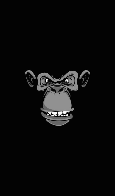 горила, black, телефон, ape, череп, злой, грустный,