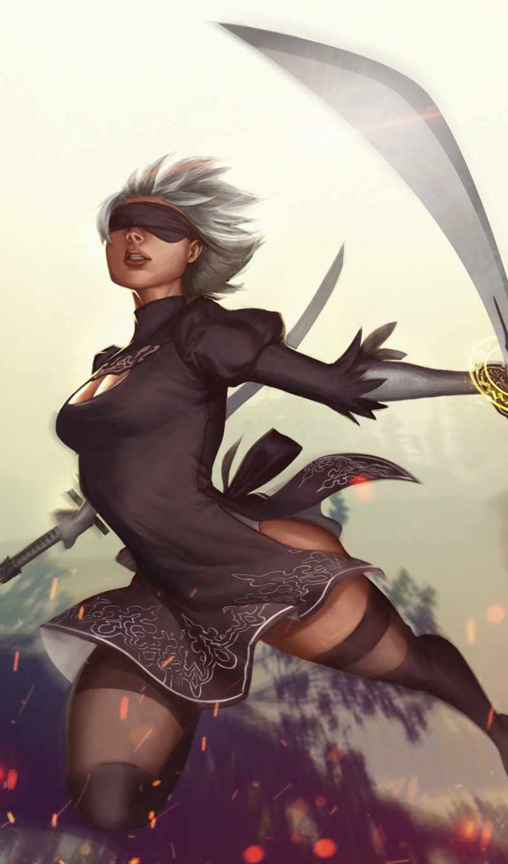 ,, cg artwork, аниме, иллюстрация, женщина-воин, длинные волосы, колготки, вымышленный персонаж, искусство, каштановые волосы, nier: automata, deviantart,