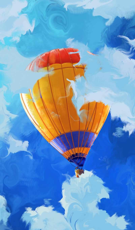 небо, воздушный шар, парашют, hot air ballooning, дневной, облако, оранжевый, air sports, windsports