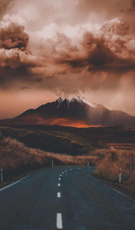 небо, гора, дорога