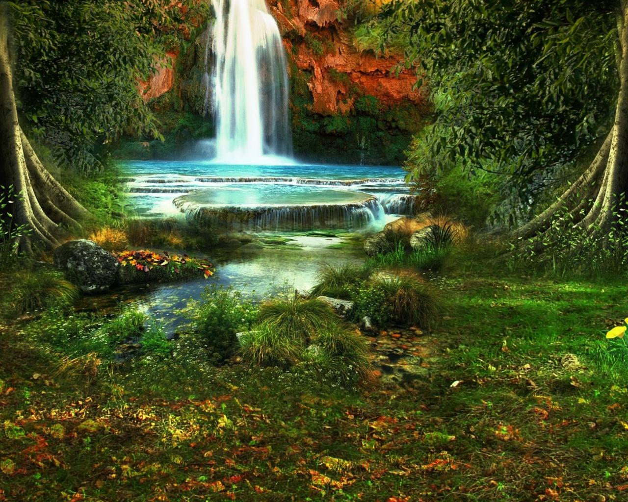 Обои водопад, осень. Природа foto 17