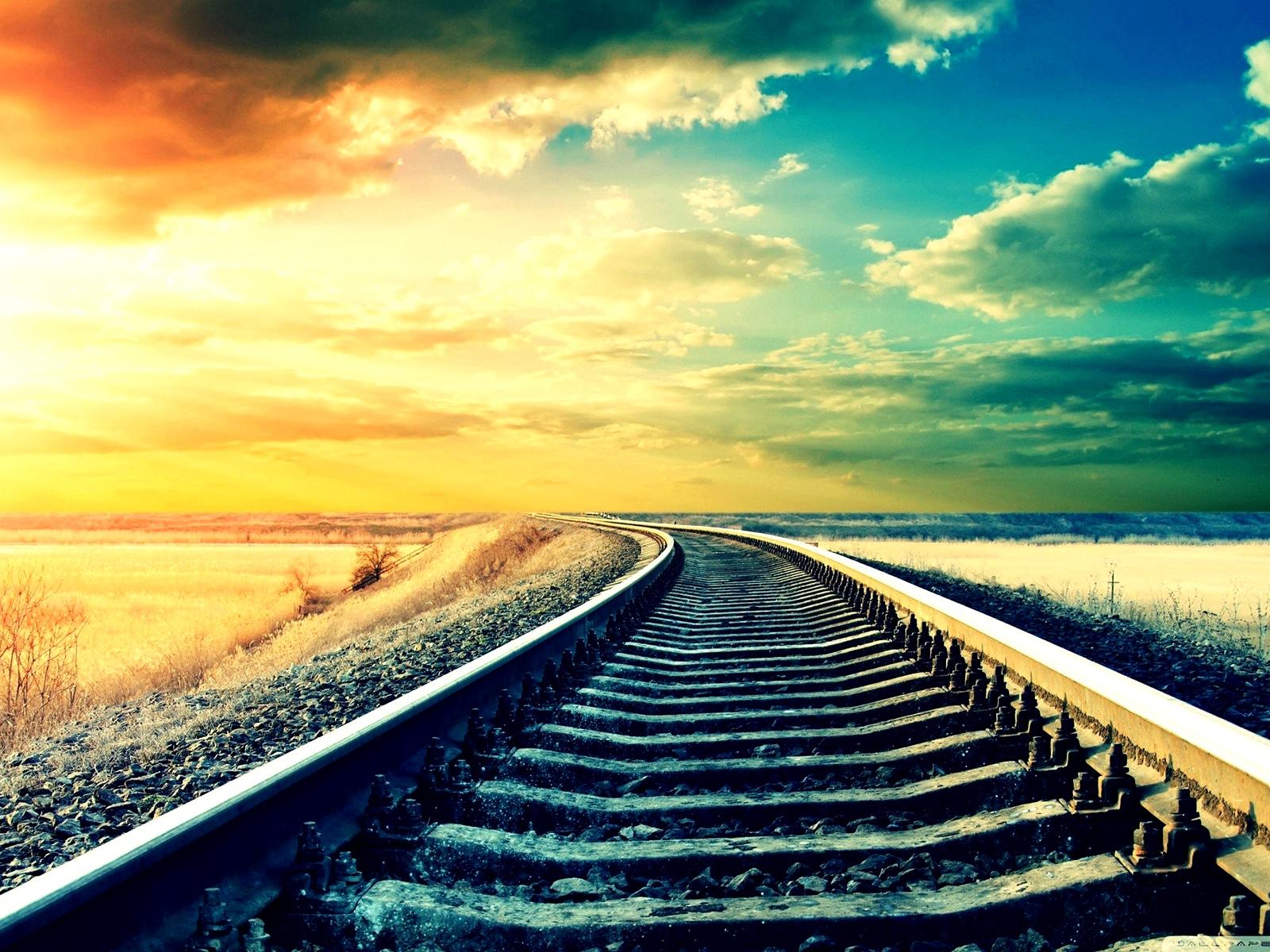 Обои путь, жд, Рельсы, солнца луч, шпалы. Разное foto 15