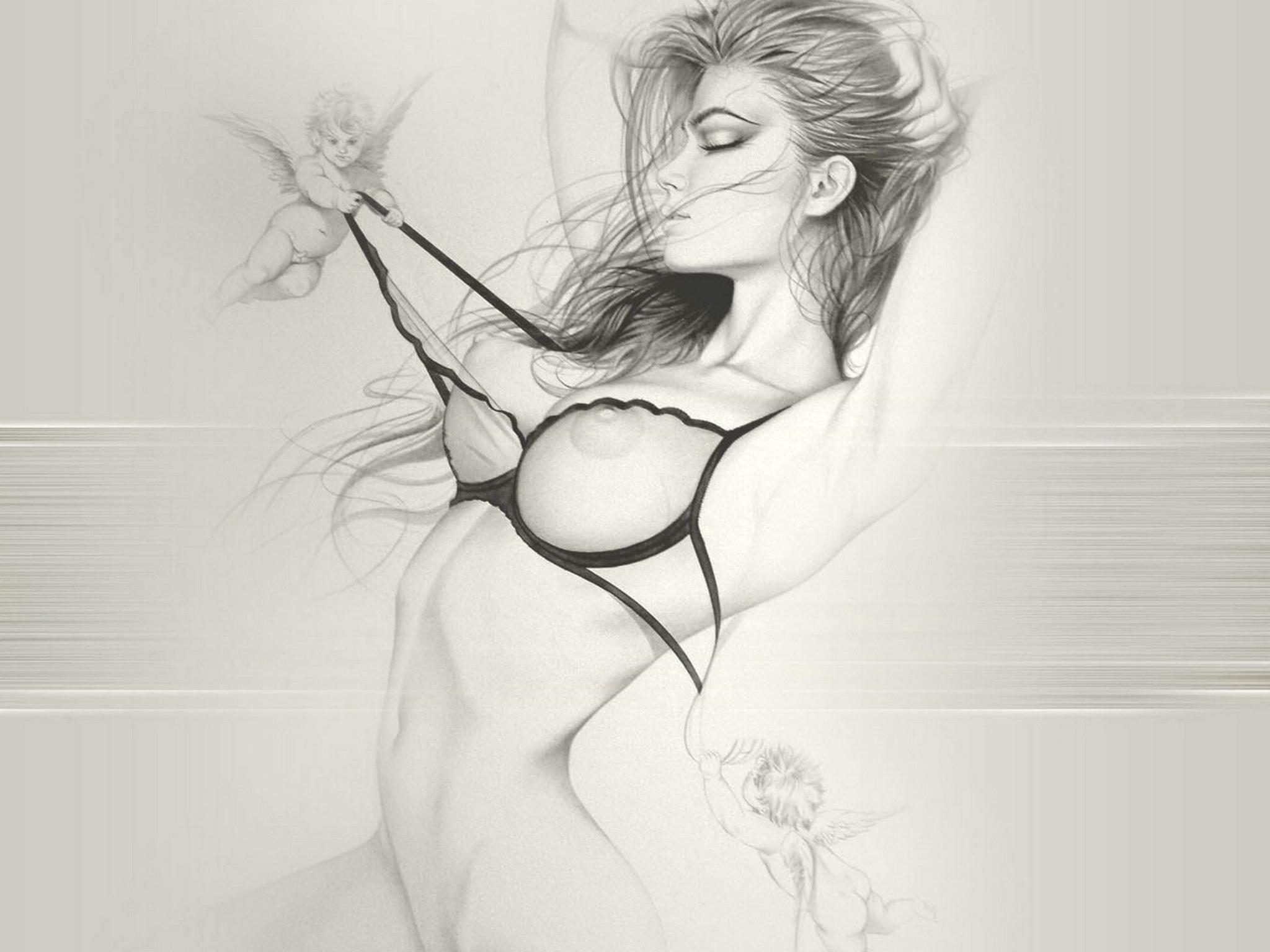 Рисунки девушка голая 3 фотография