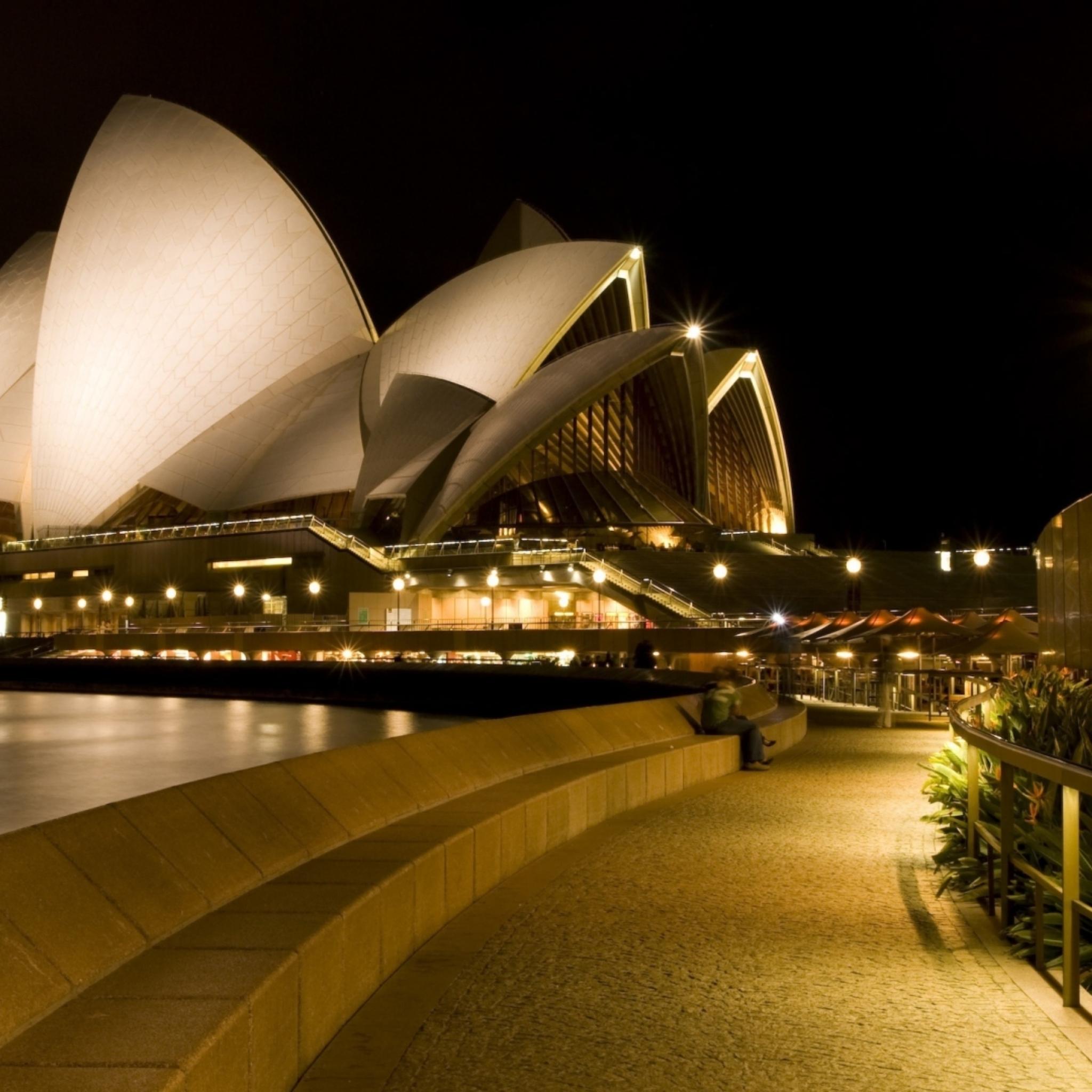 Обои набережная, ночь, австралия, фонари. Города foto 16