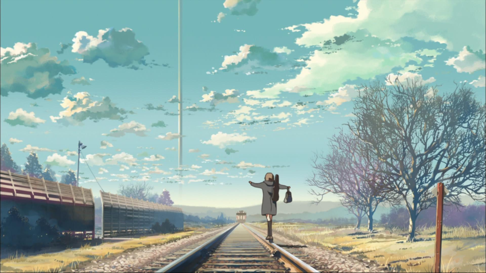 аниме девушка рельсы станция anime girl rails station бесплатно