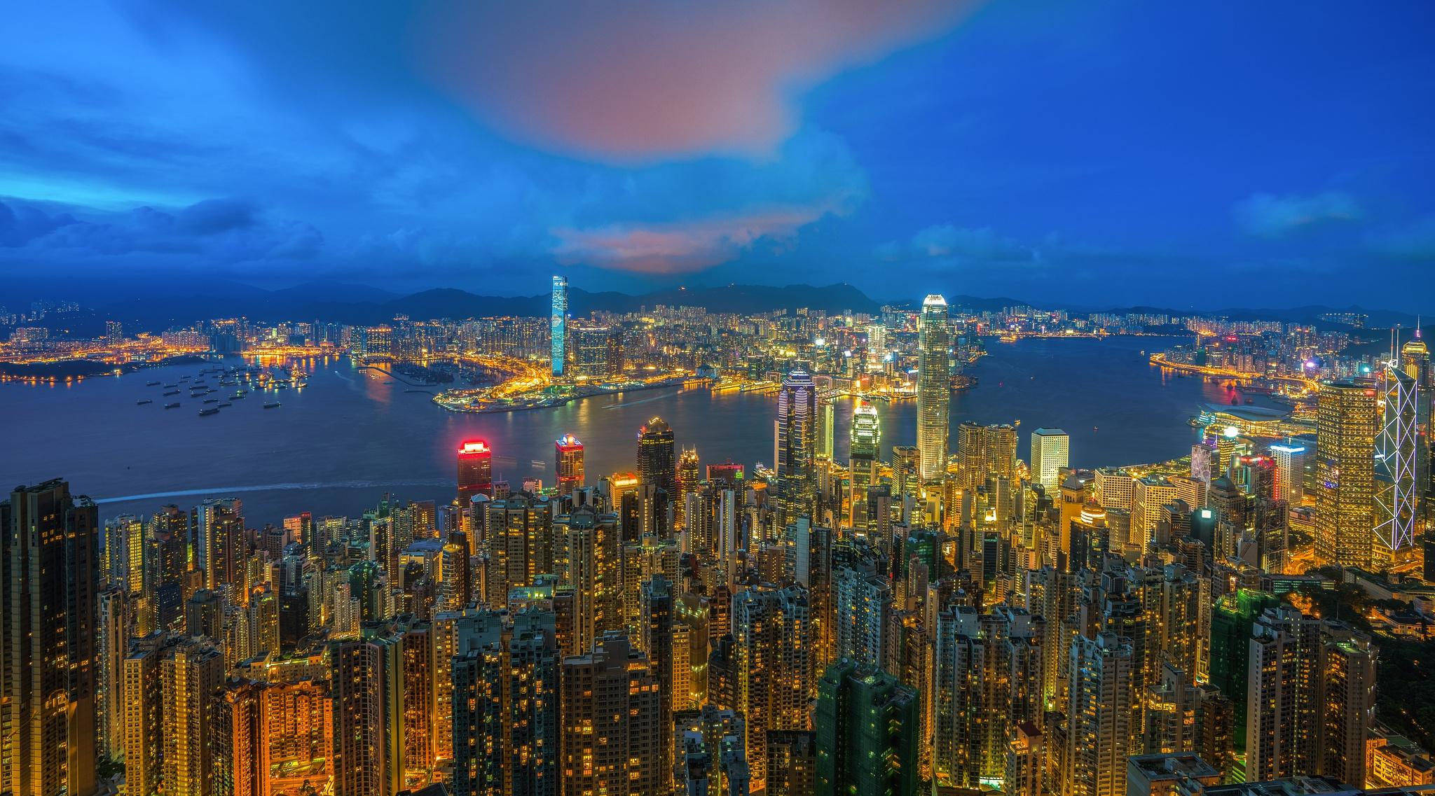 страны архитектура ночь Гонконг  № 1481703  скачать