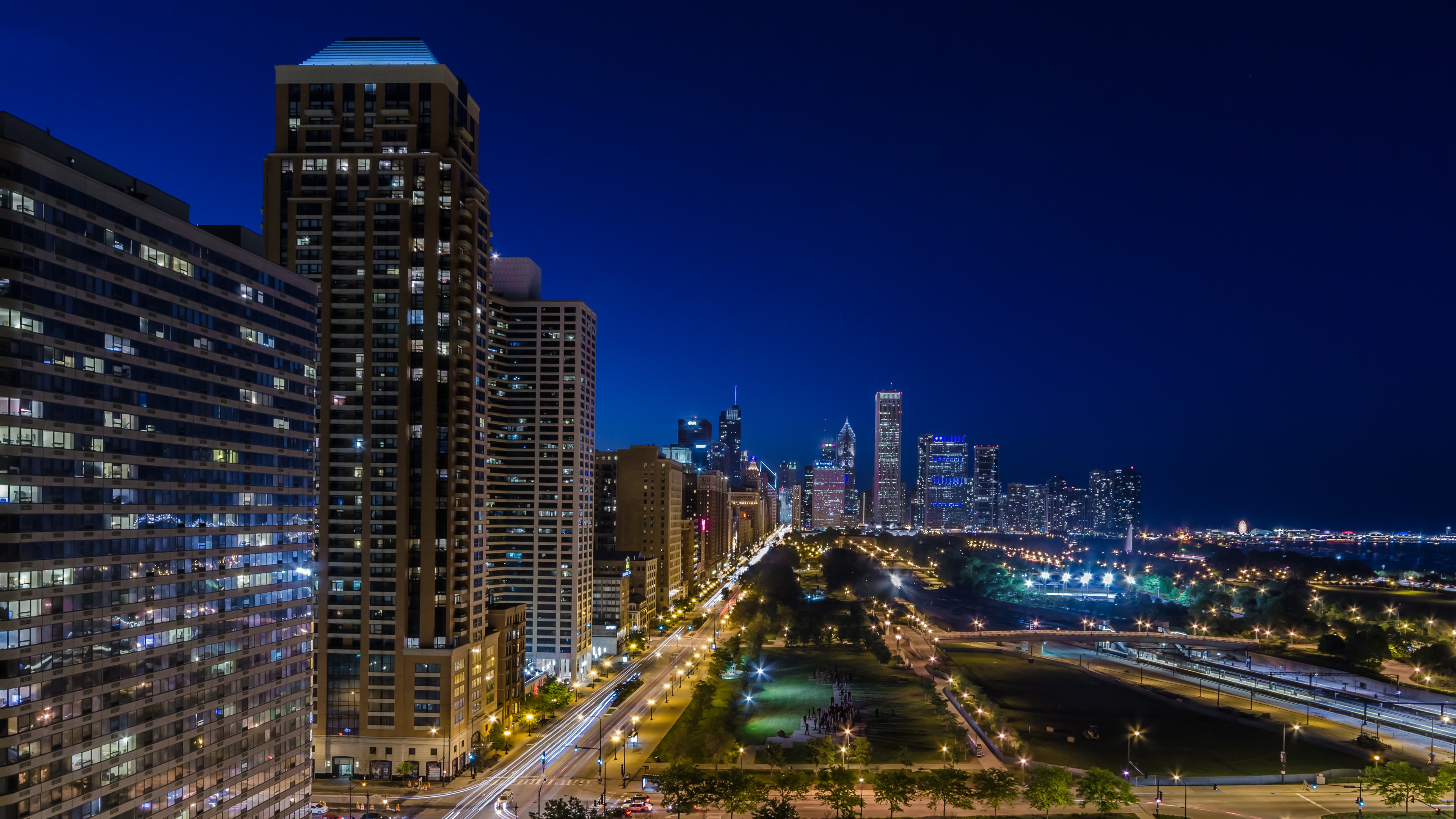 Ночной порт в Чикаго  № 3504414 бесплатно