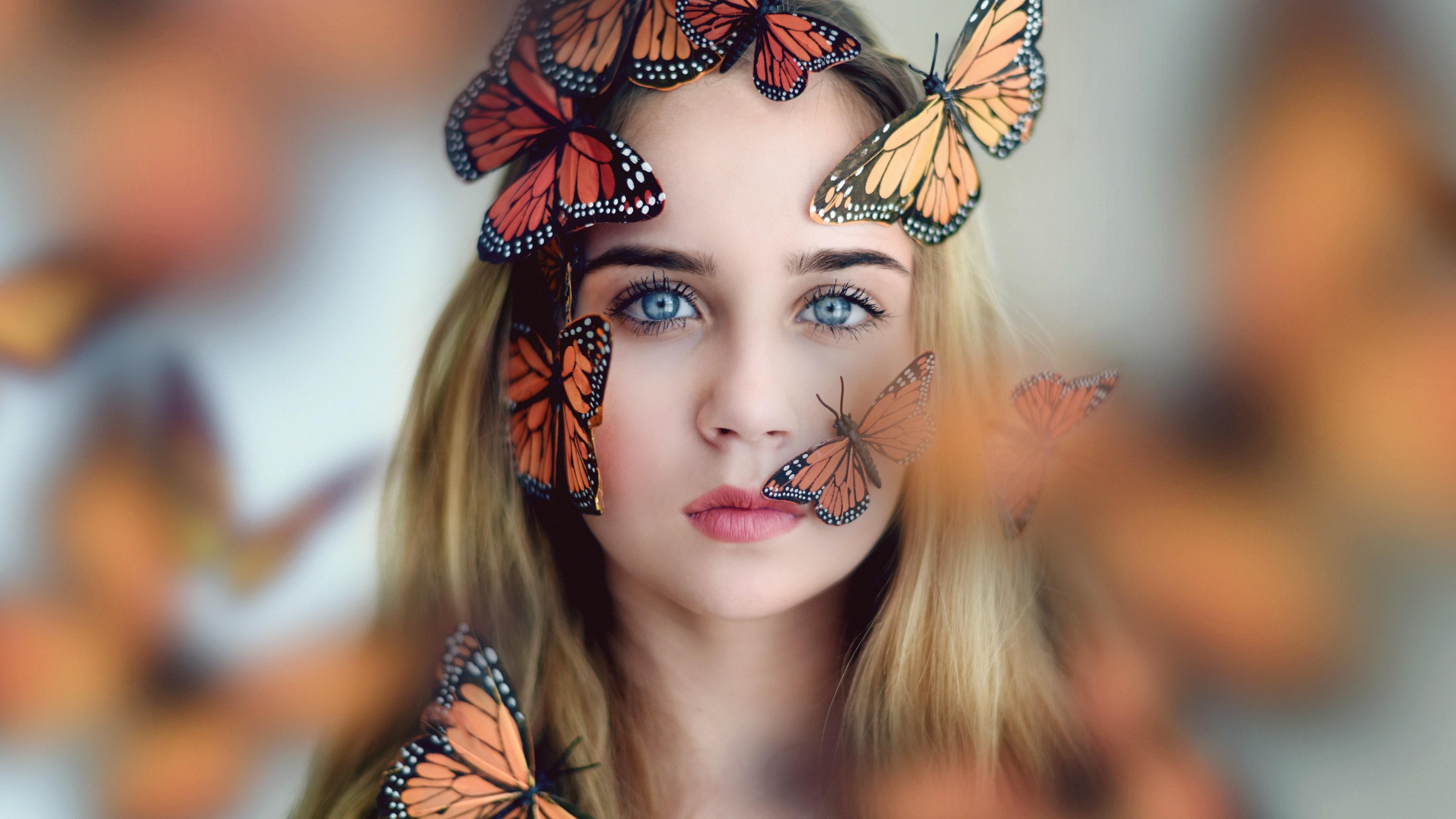 девушка брюнетка бабочки лицо в хорошем качестве
