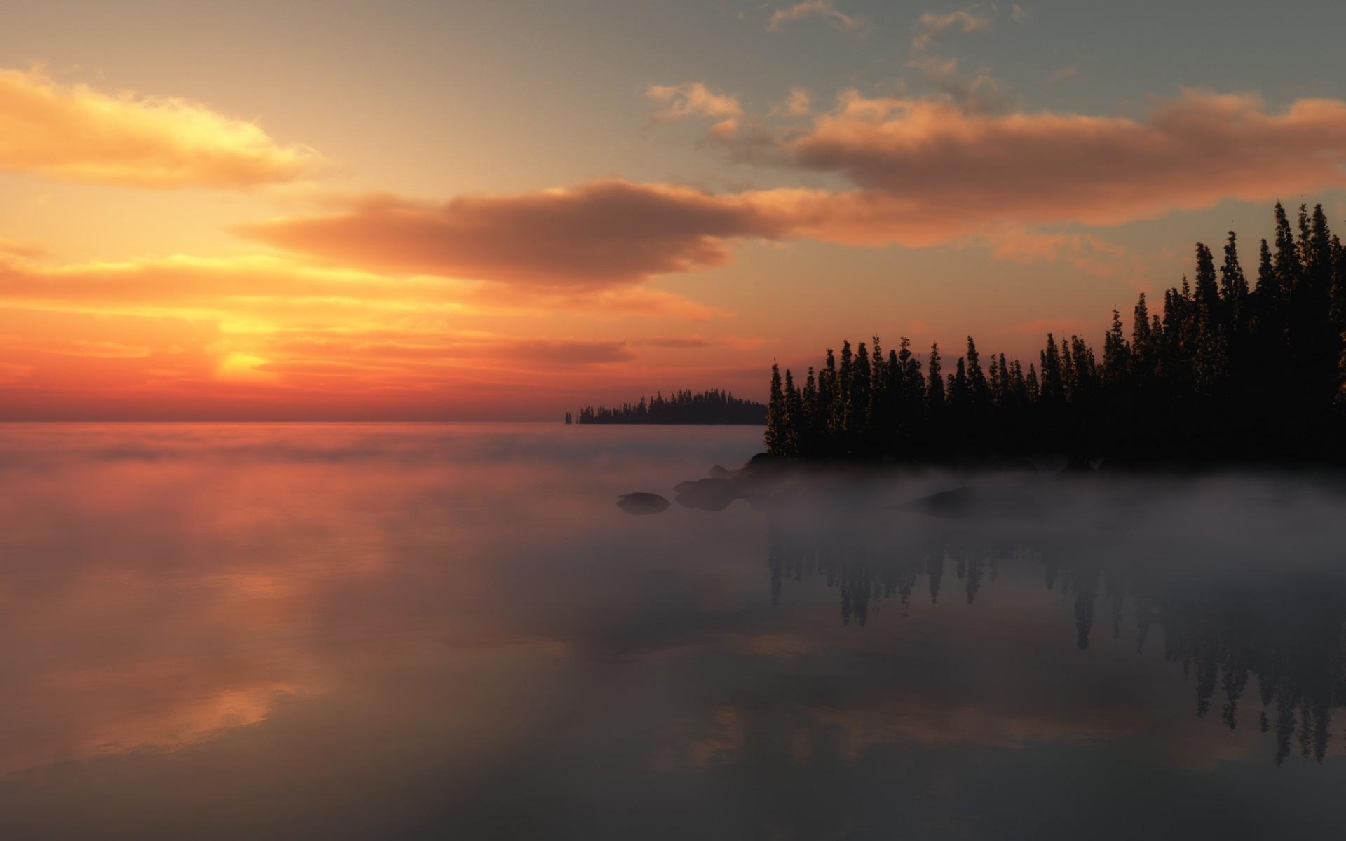 Темный закат над озером  № 3213509  скачать