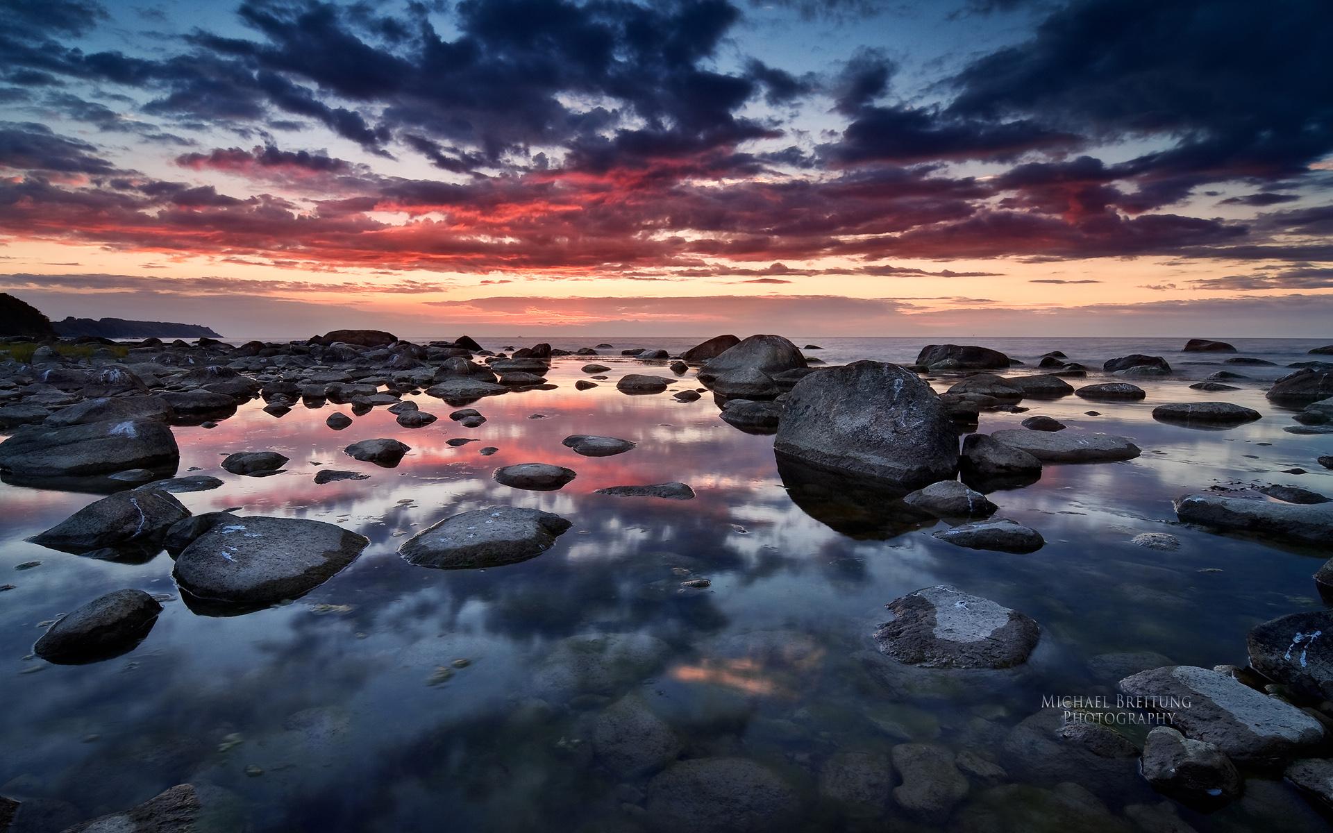природа скалы море солнце облака отражение без смс