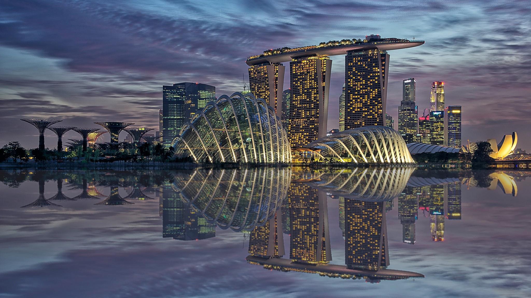 страны архитектура Сингапур ночь  № 1476030 бесплатно