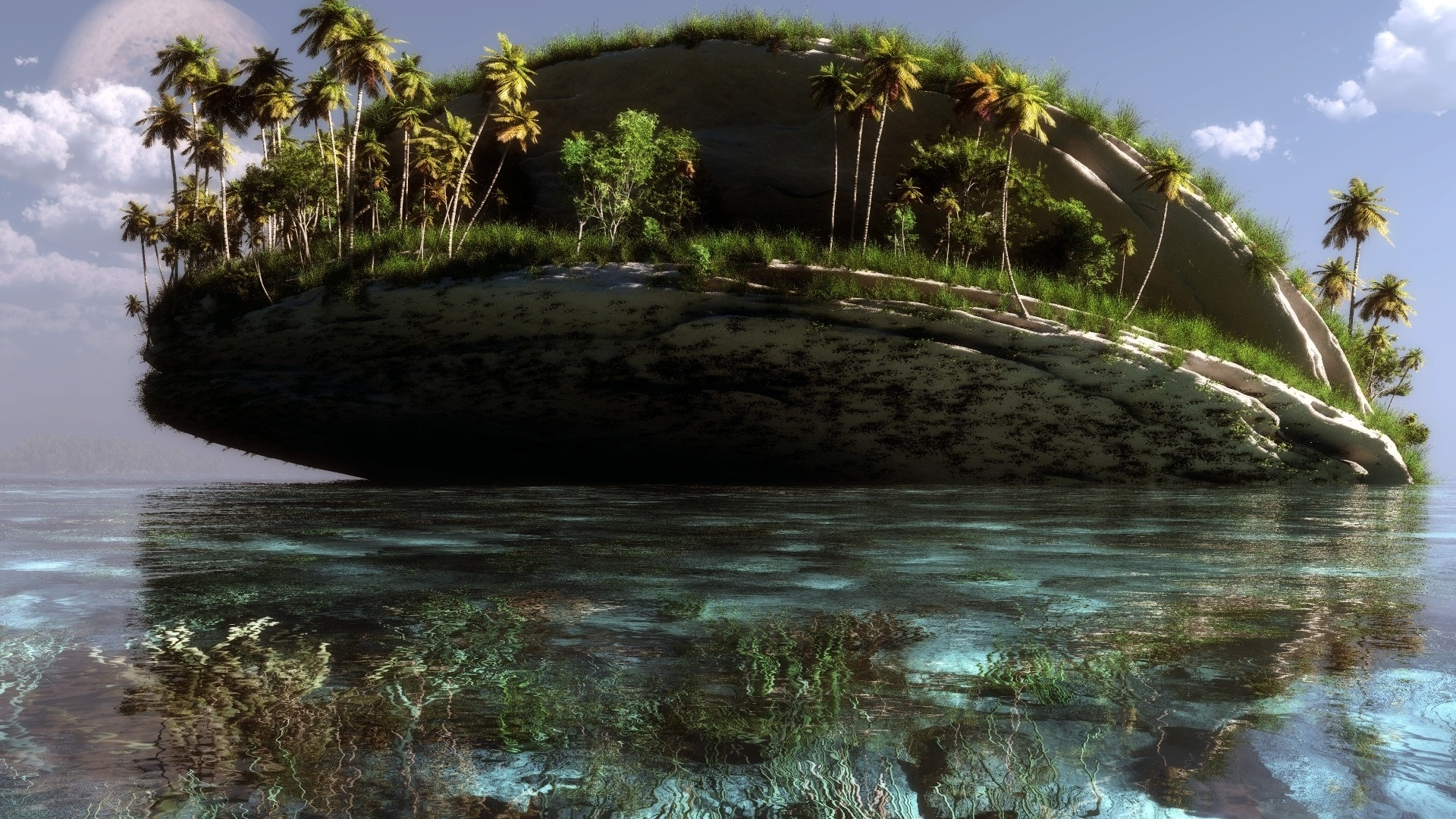 маленькие острова среди гор  № 253188 без смс