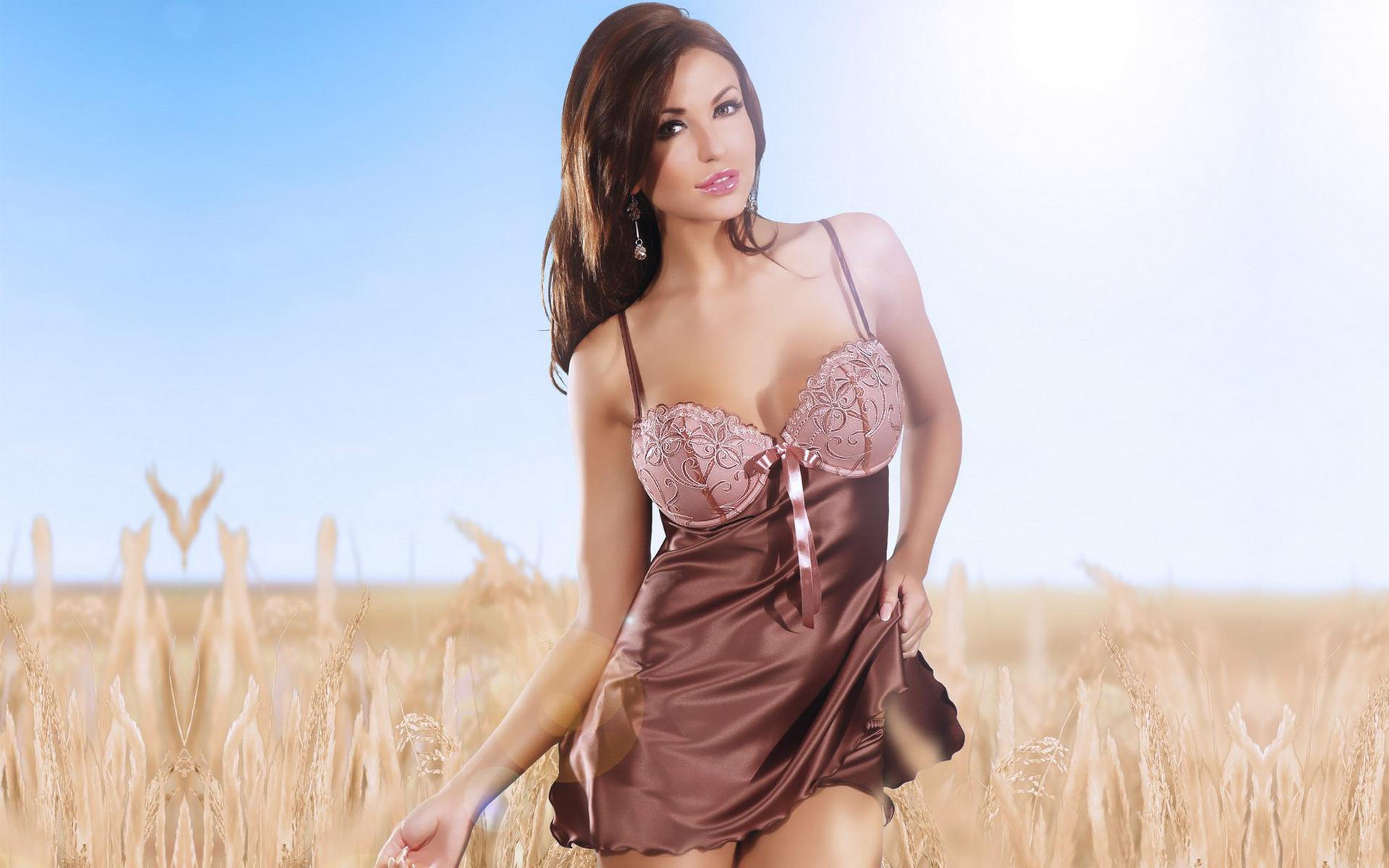 длинные волосы девушка сорочка природа  № 1819651 загрузить