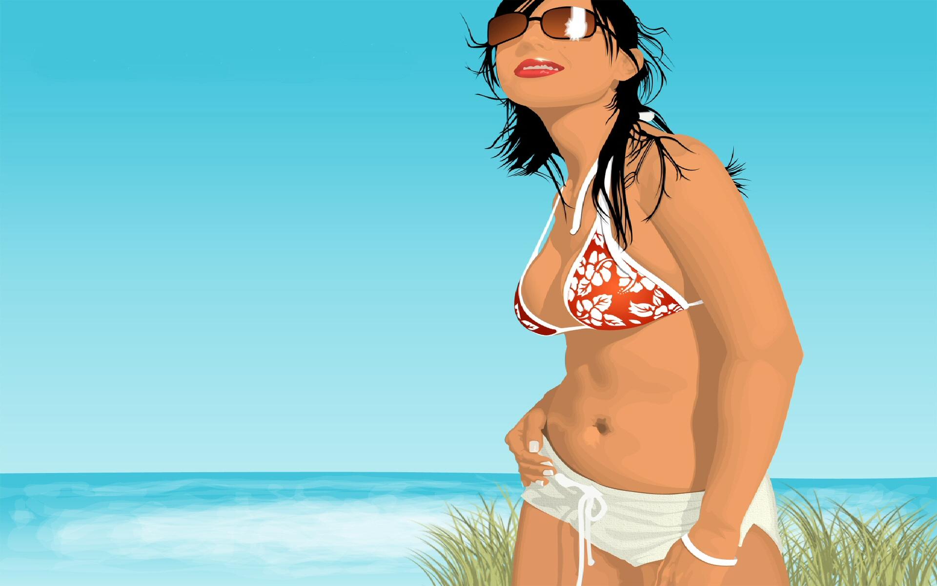 Девушка пляж краски без смс
