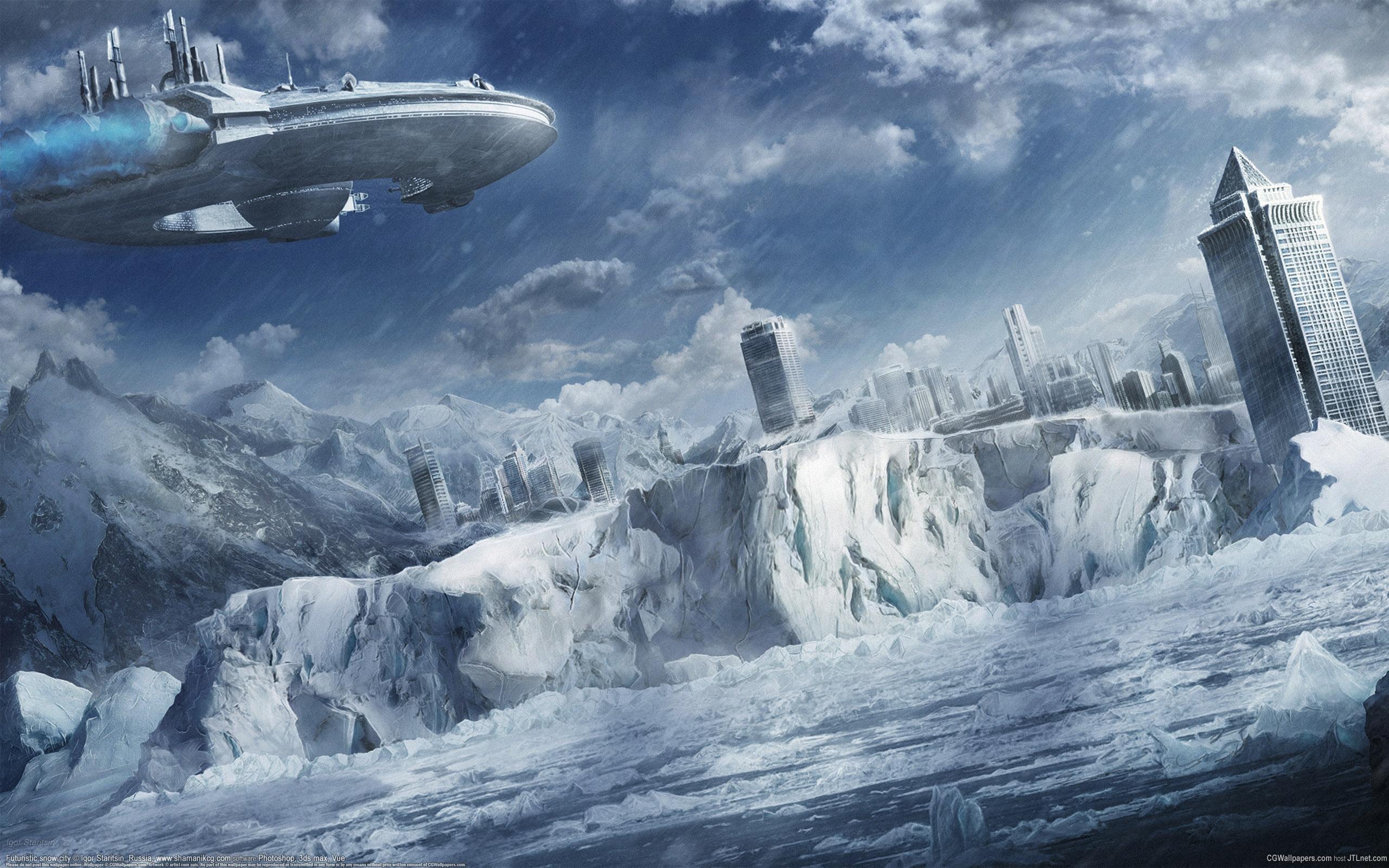 зима, пробки, ледниковый период, машины, фэнтези  № 1653932 без смс