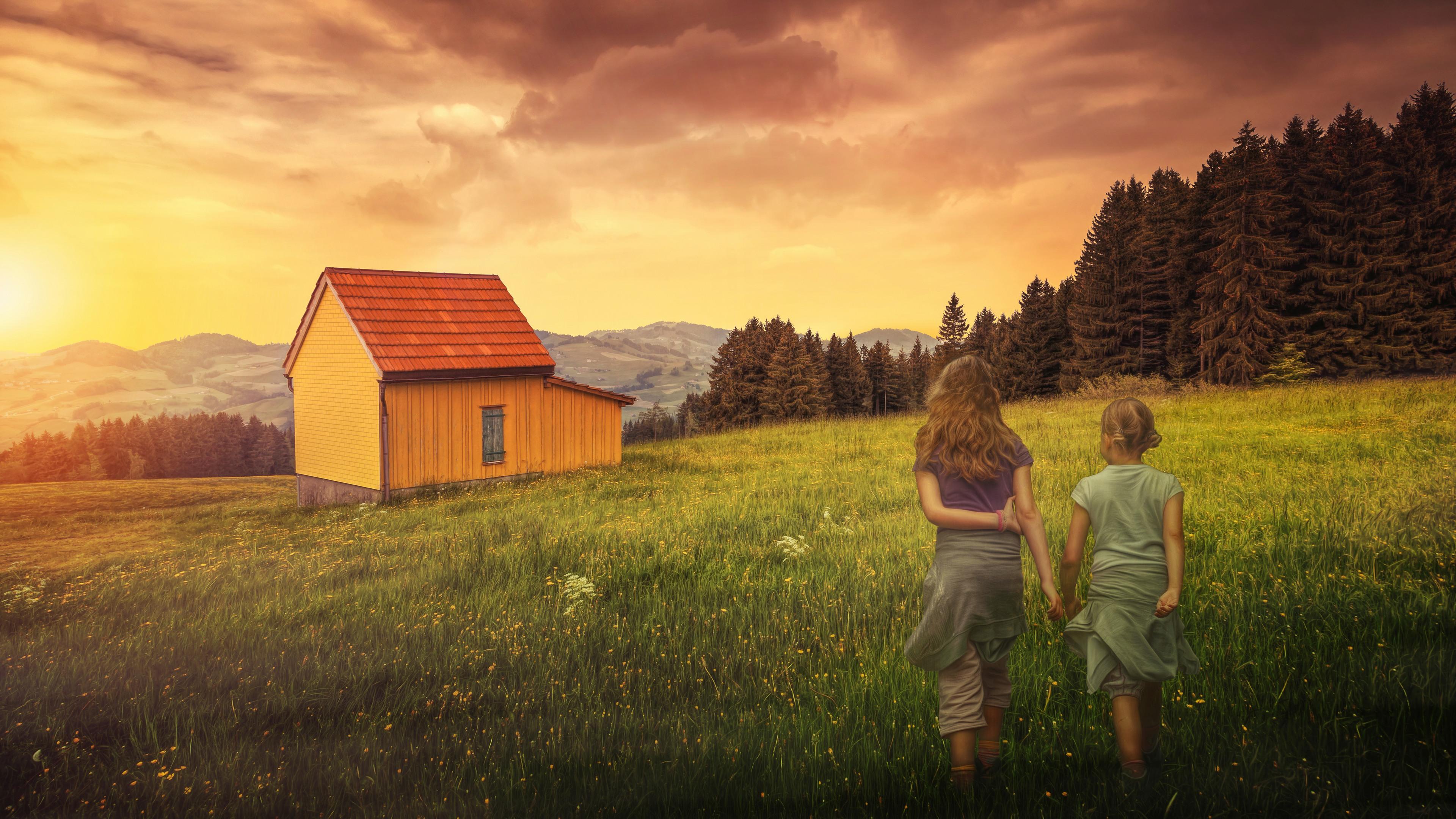 домик в степи на закате онлайн