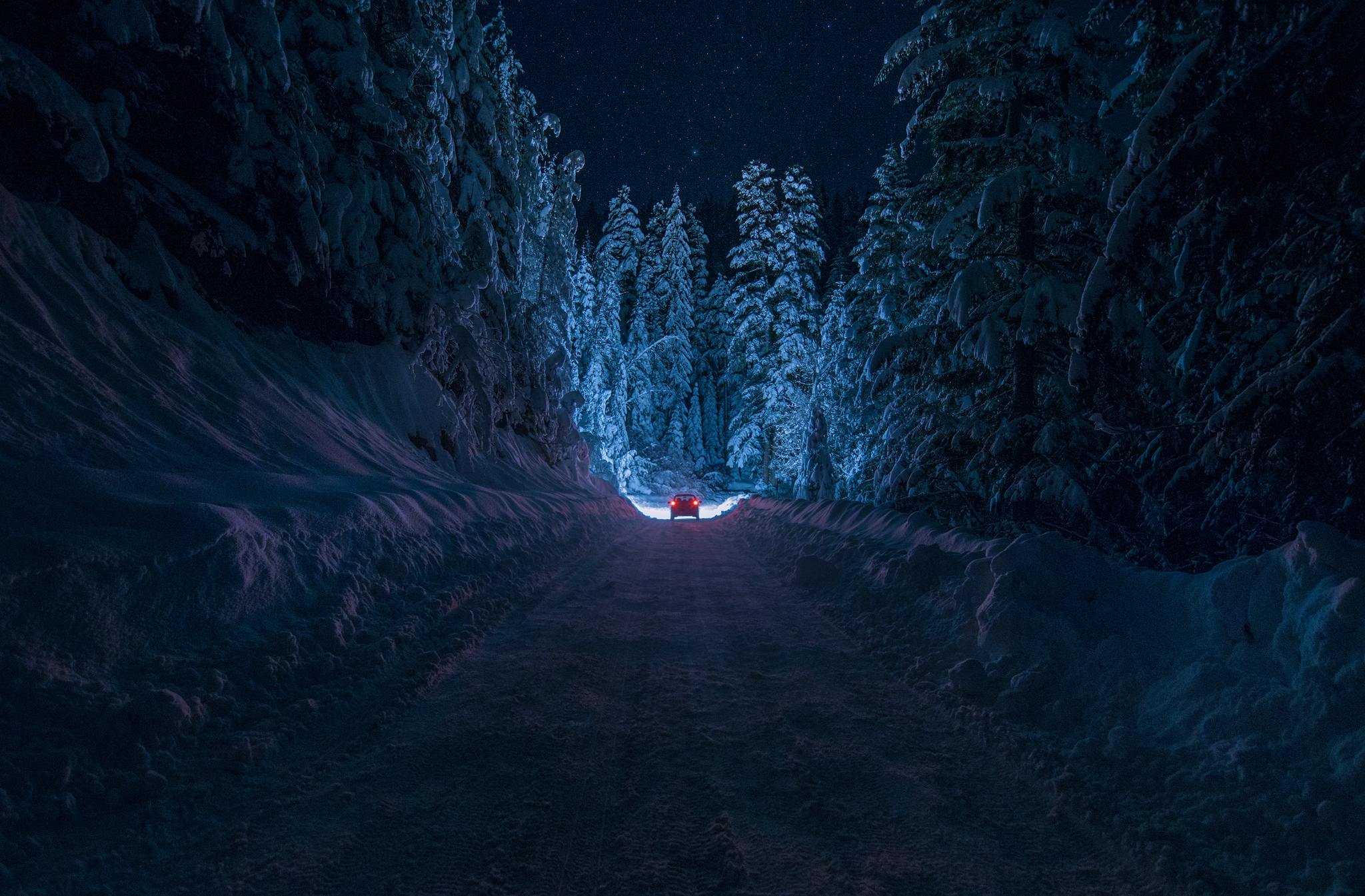 дорога зима вечер снег  № 3902516 без смс
