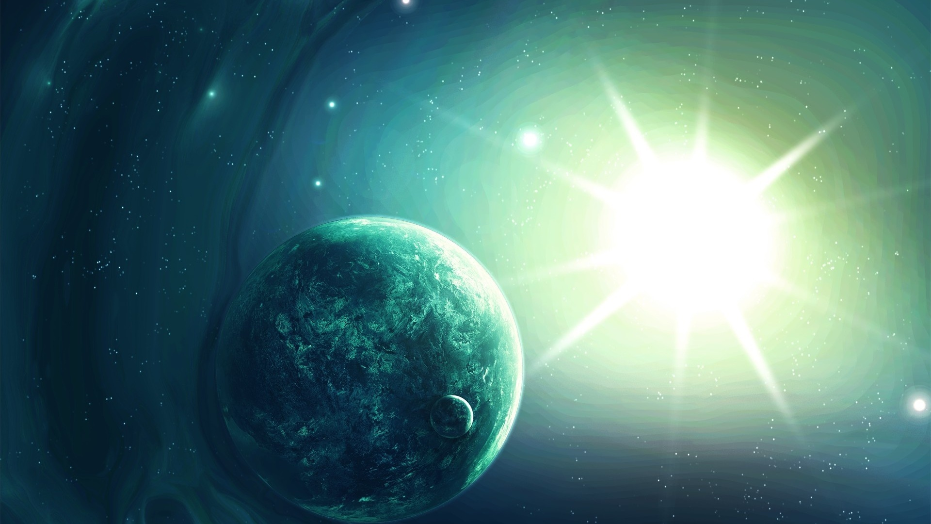 Обои Свечение за планетами картинки на рабочий стол на тему Космос - скачать бесплатно