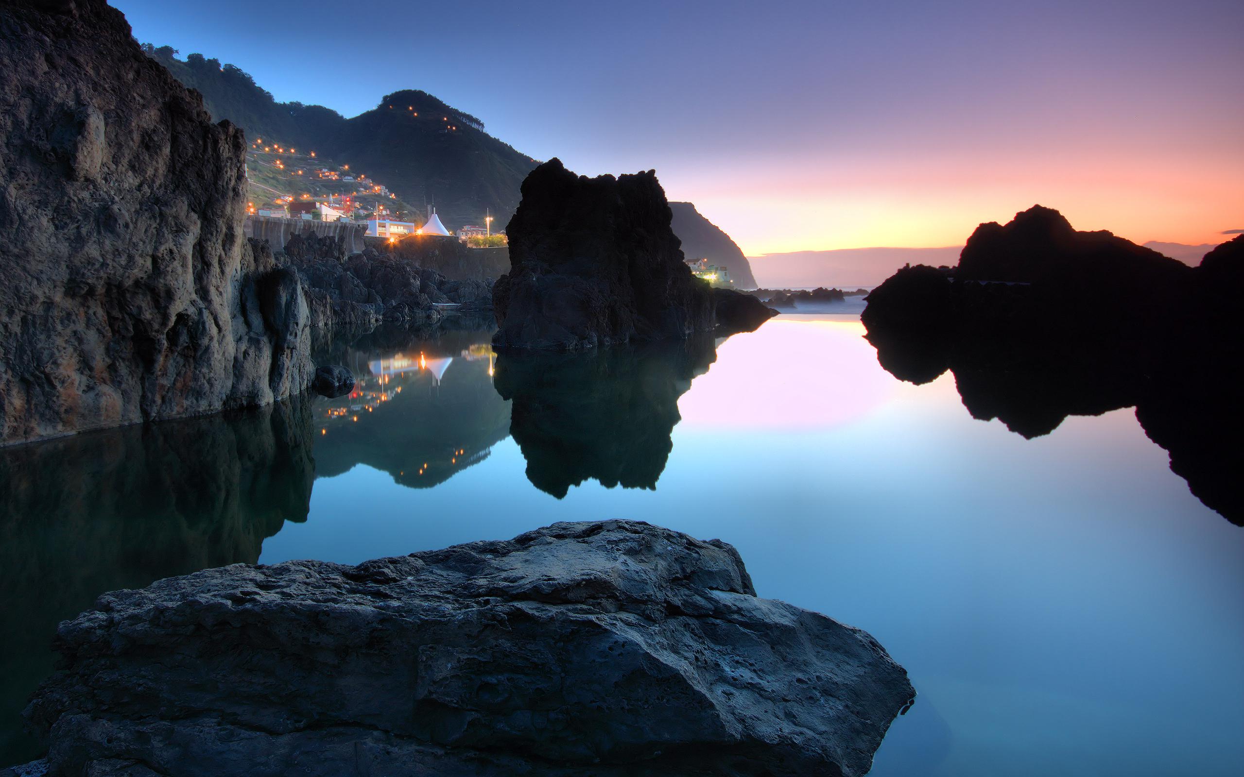 закат, скалы, озеро  № 661837 загрузить