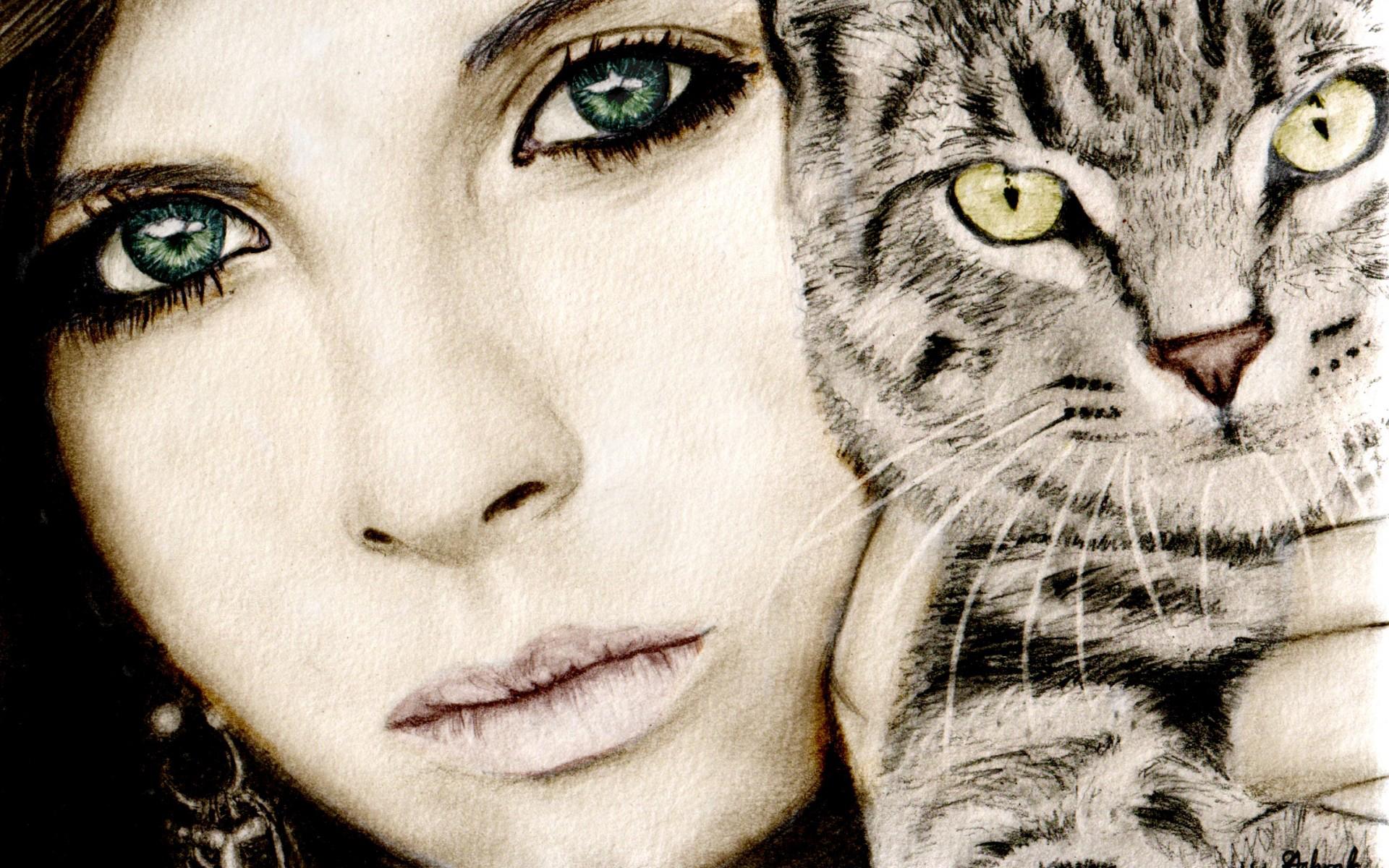 Красивые кошки с людьми на картинках