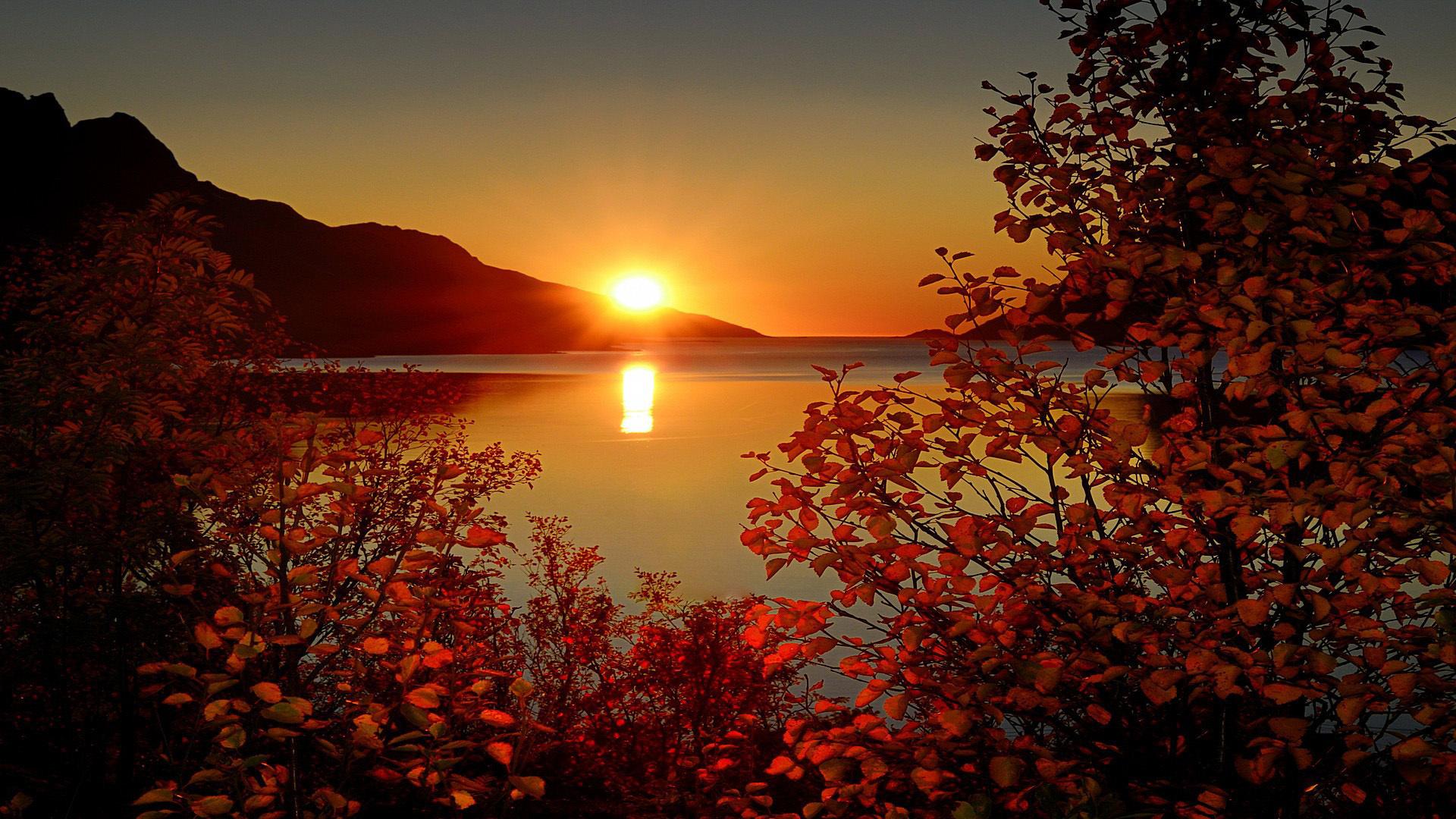 отражение гор на заходе солнца загрузить