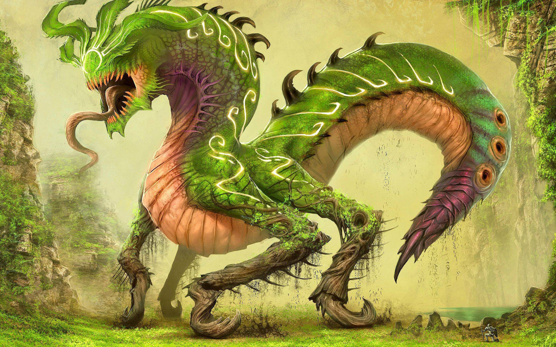 Нарисованый фэнтезийный зеленый дракон  № 3349182 загрузить