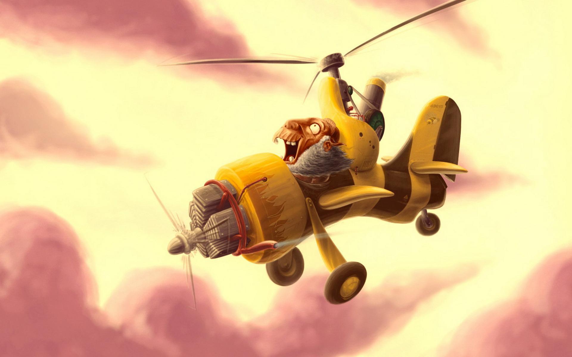 Картинка веселого самолета, другу пожеланием скорейшего