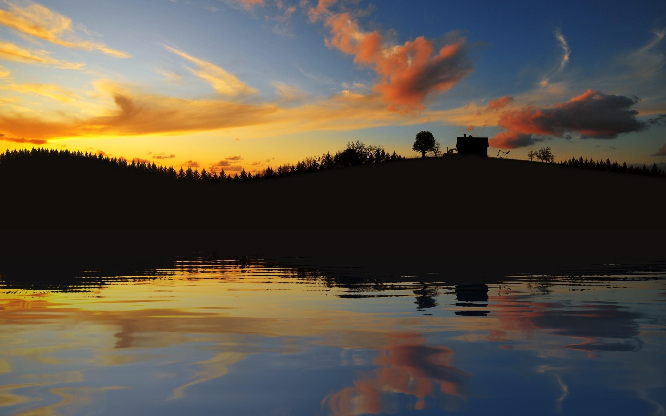озеро в лесу на закате  № 380268 загрузить