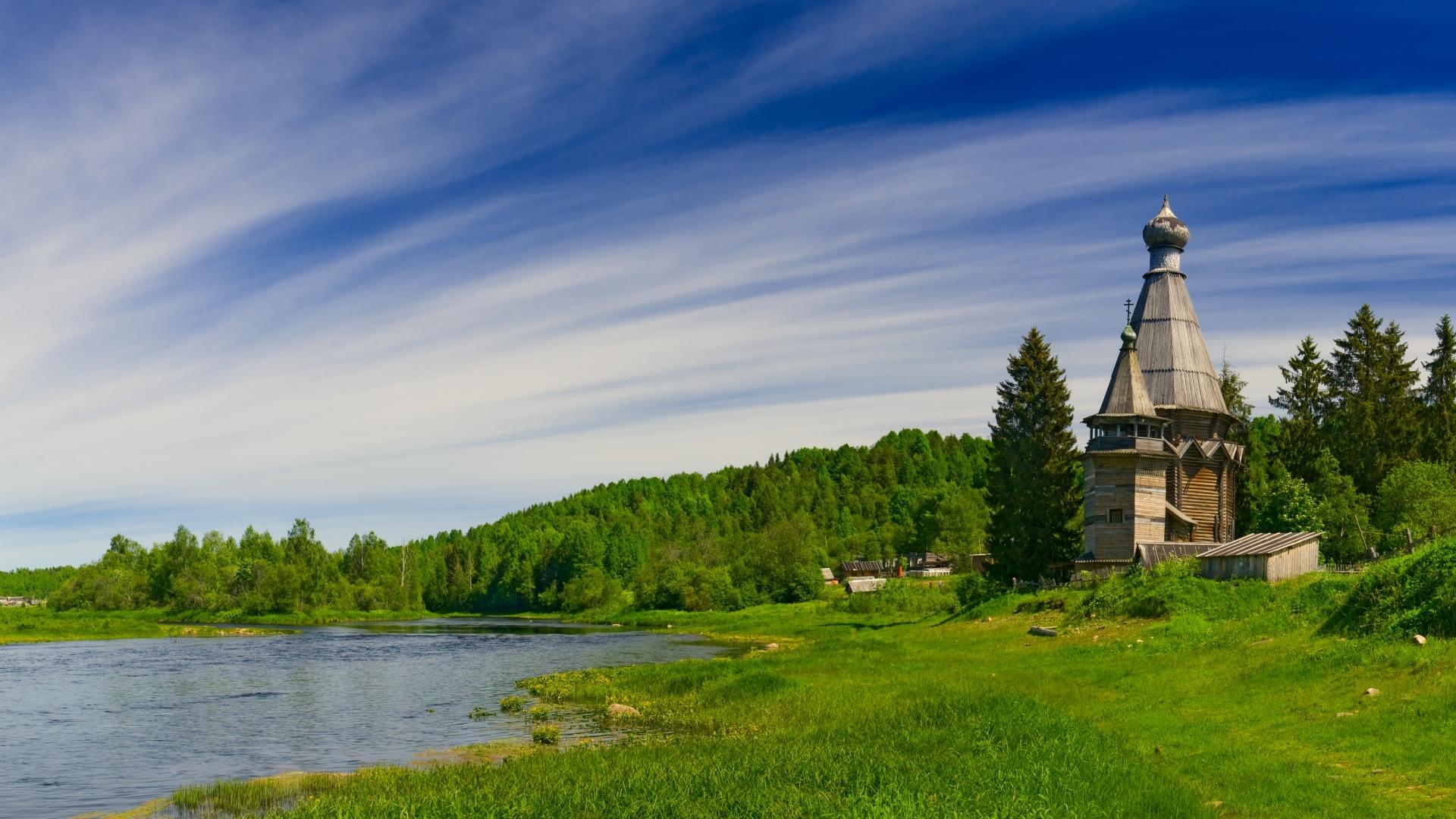 природа река архитектура облака Церковь Святого Пантелеймона смотреть