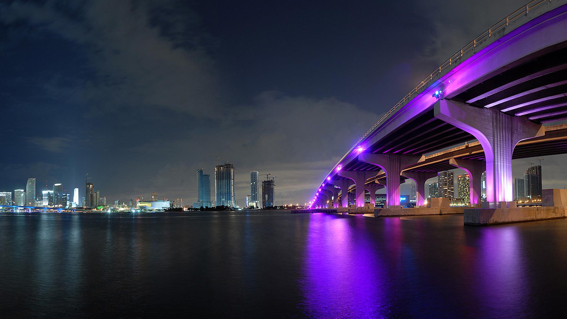 огни мост город ночь скачать