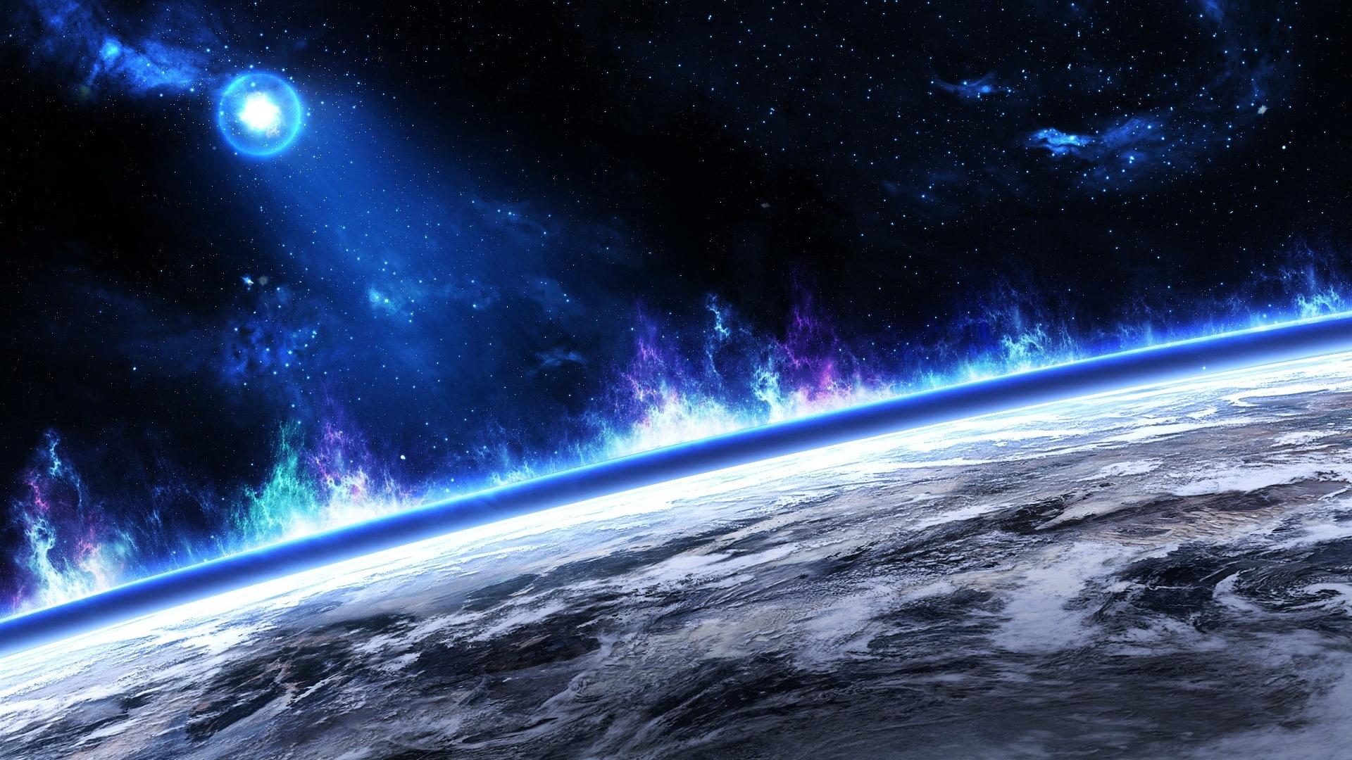 Обои Планета, космос, горизонт картинки на рабочий стол на тему Космос — скачать на телефон