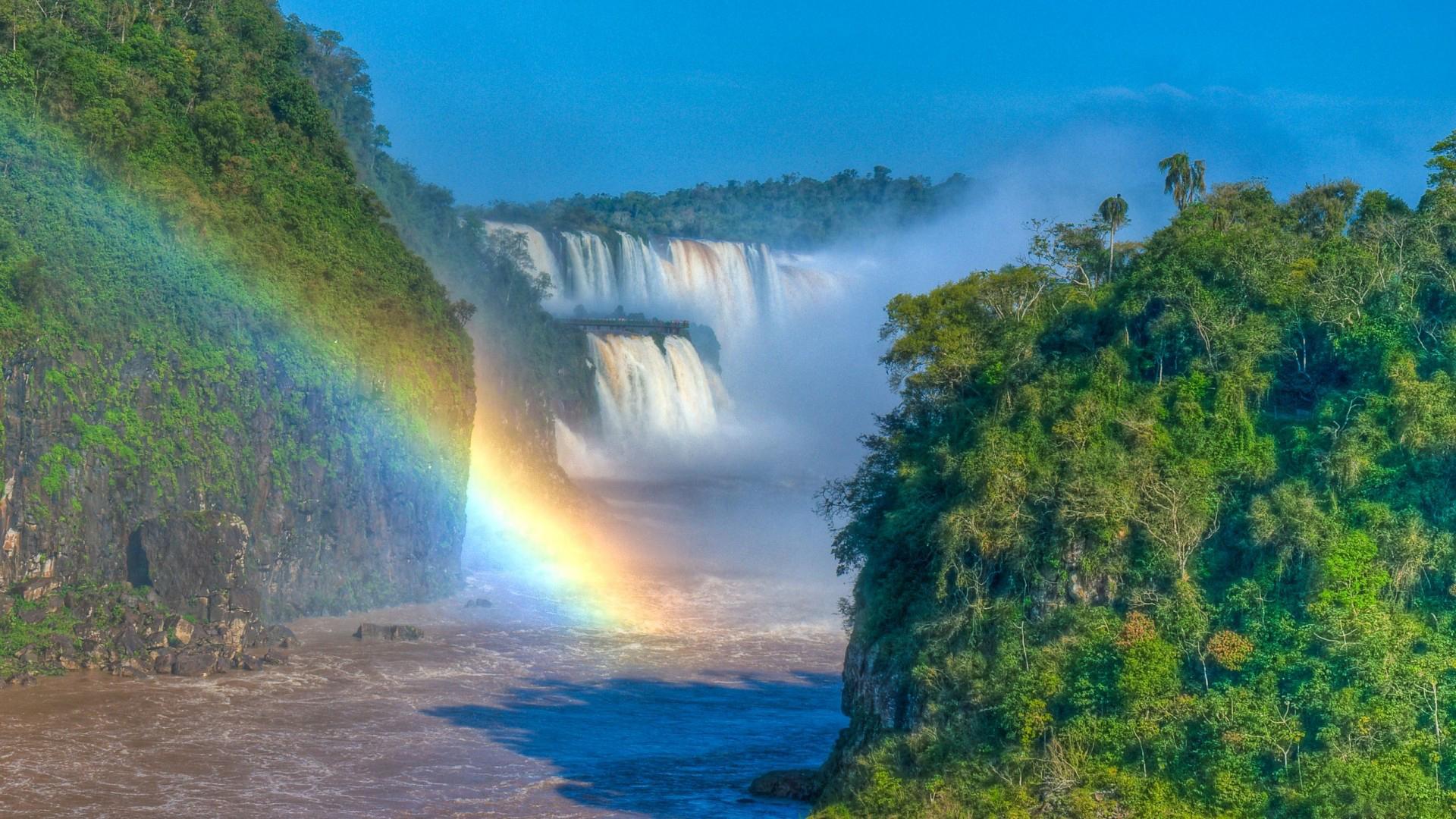 природа водопад деревья радуга  № 70378 загрузить