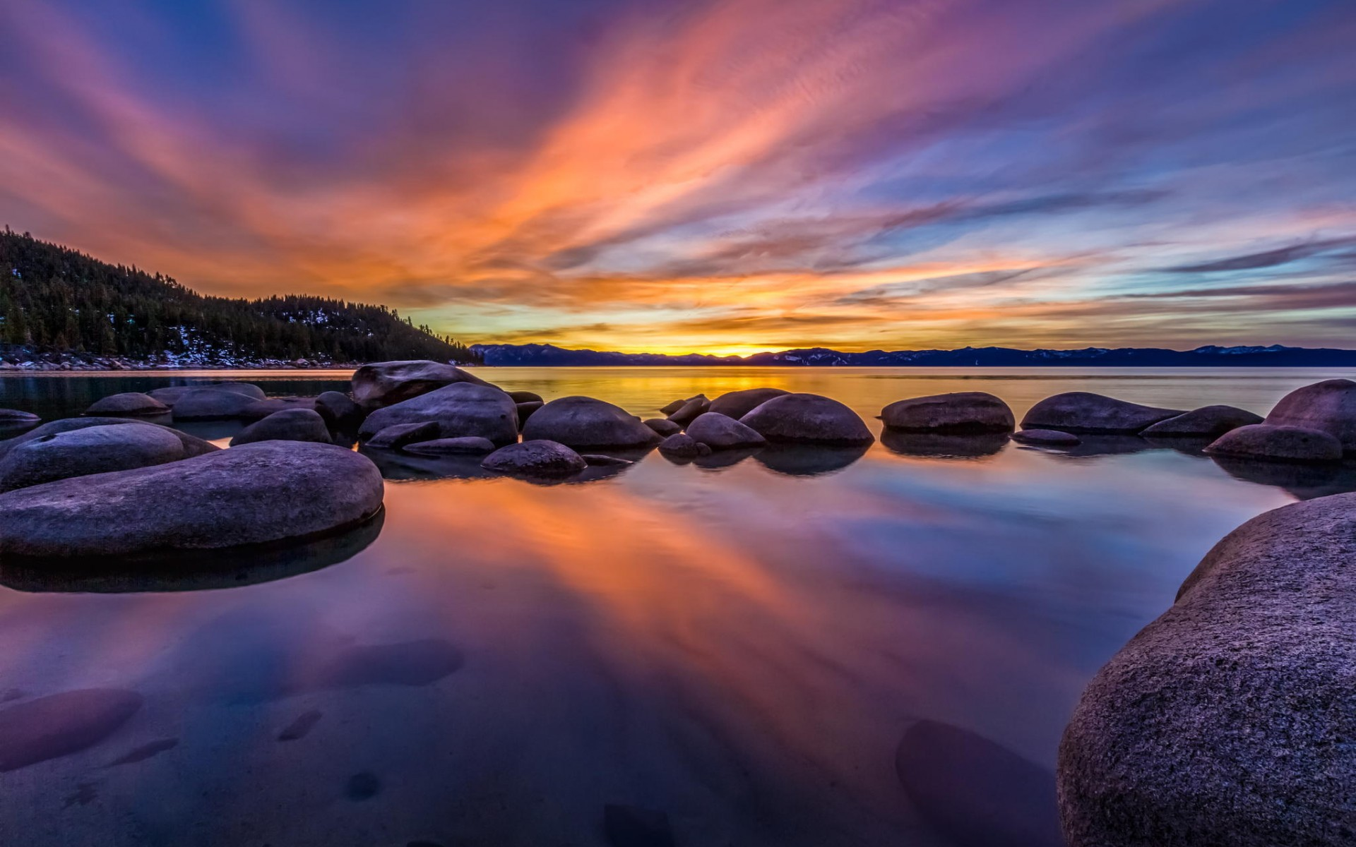 Закат озеро камни бесплатно