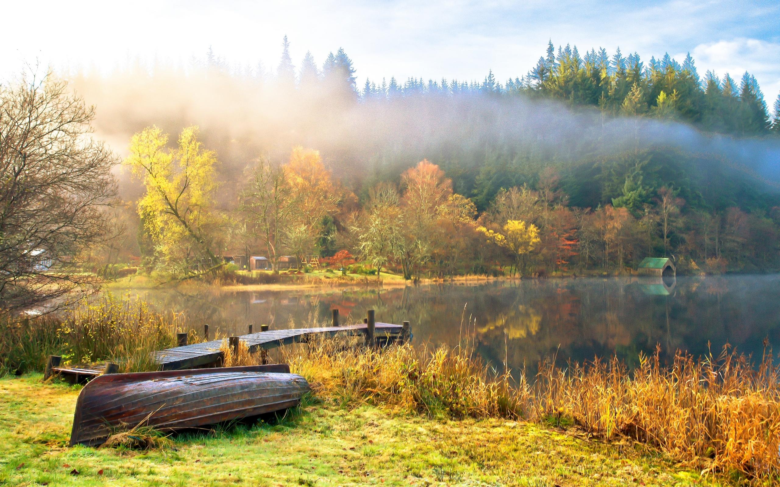 осень озеро природа облака деревья  № 2491520 загрузить