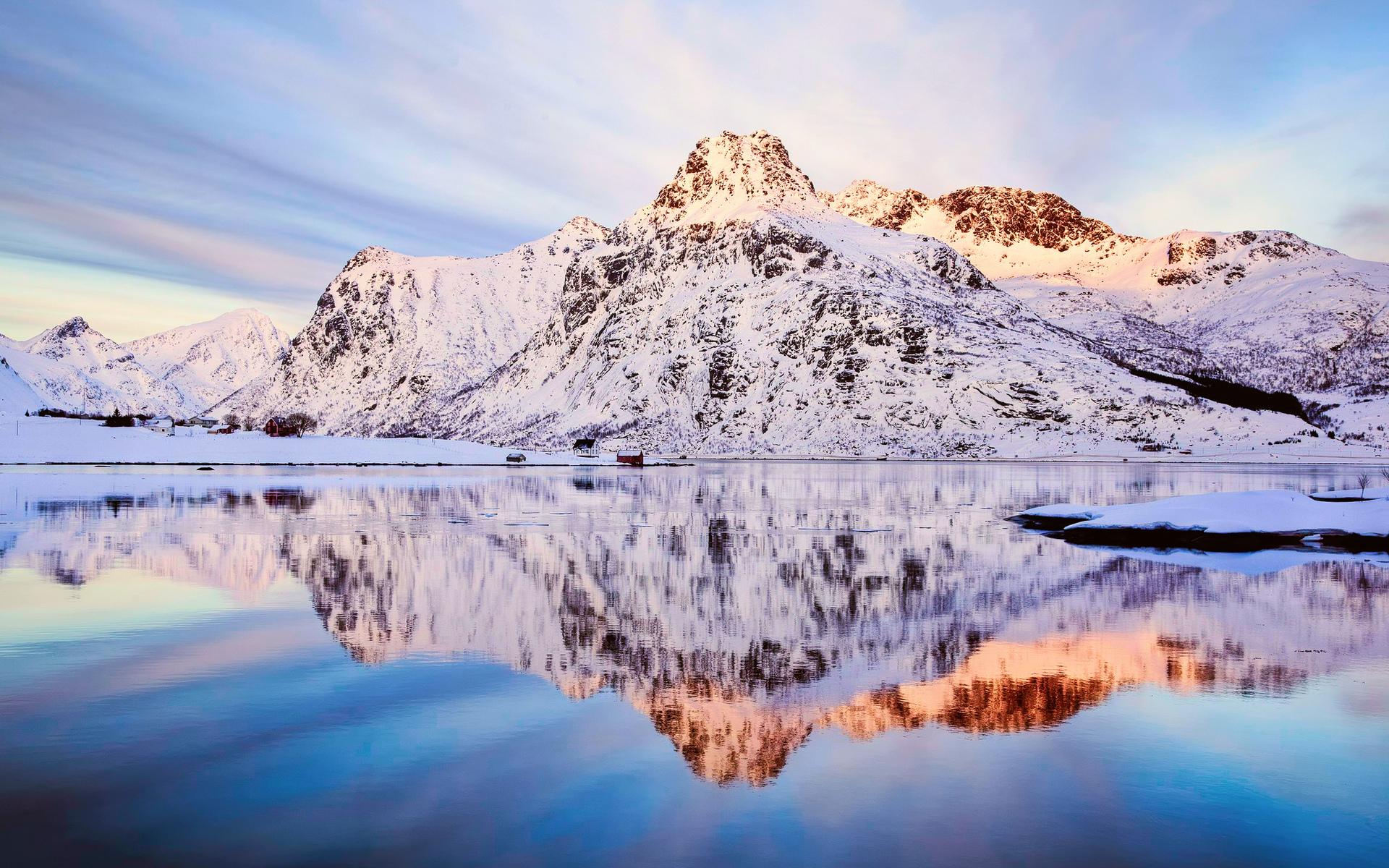 озеро гора снег  № 579204  скачать