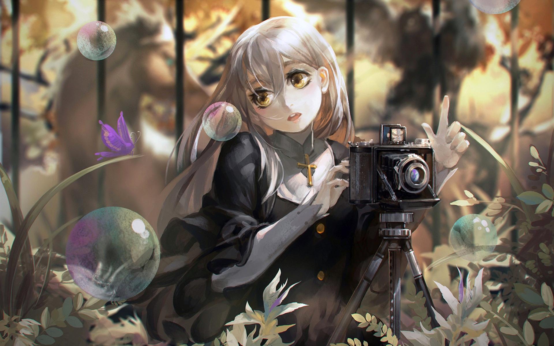 Аниме девушка фотограф