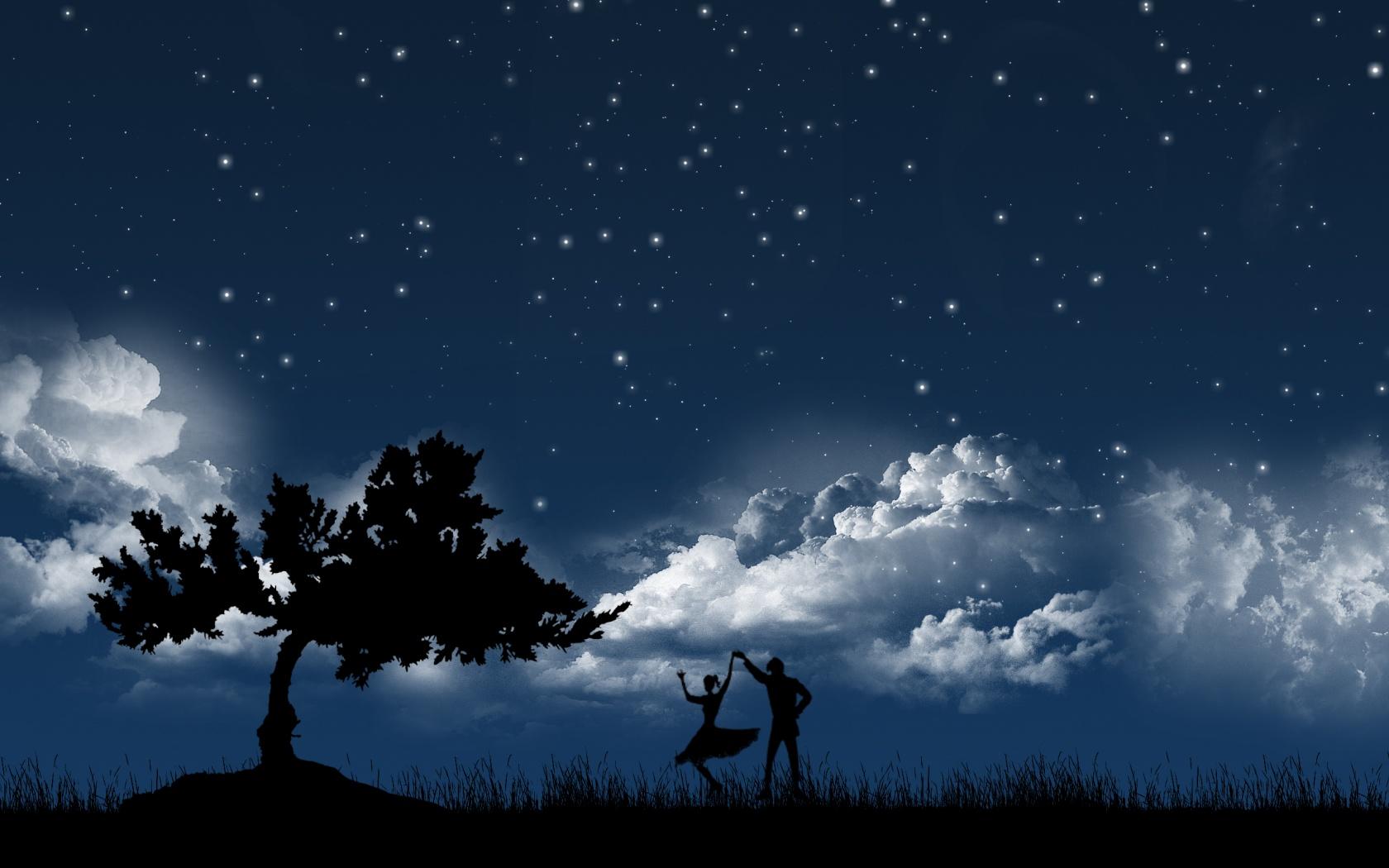 Открытка ночное небо пара