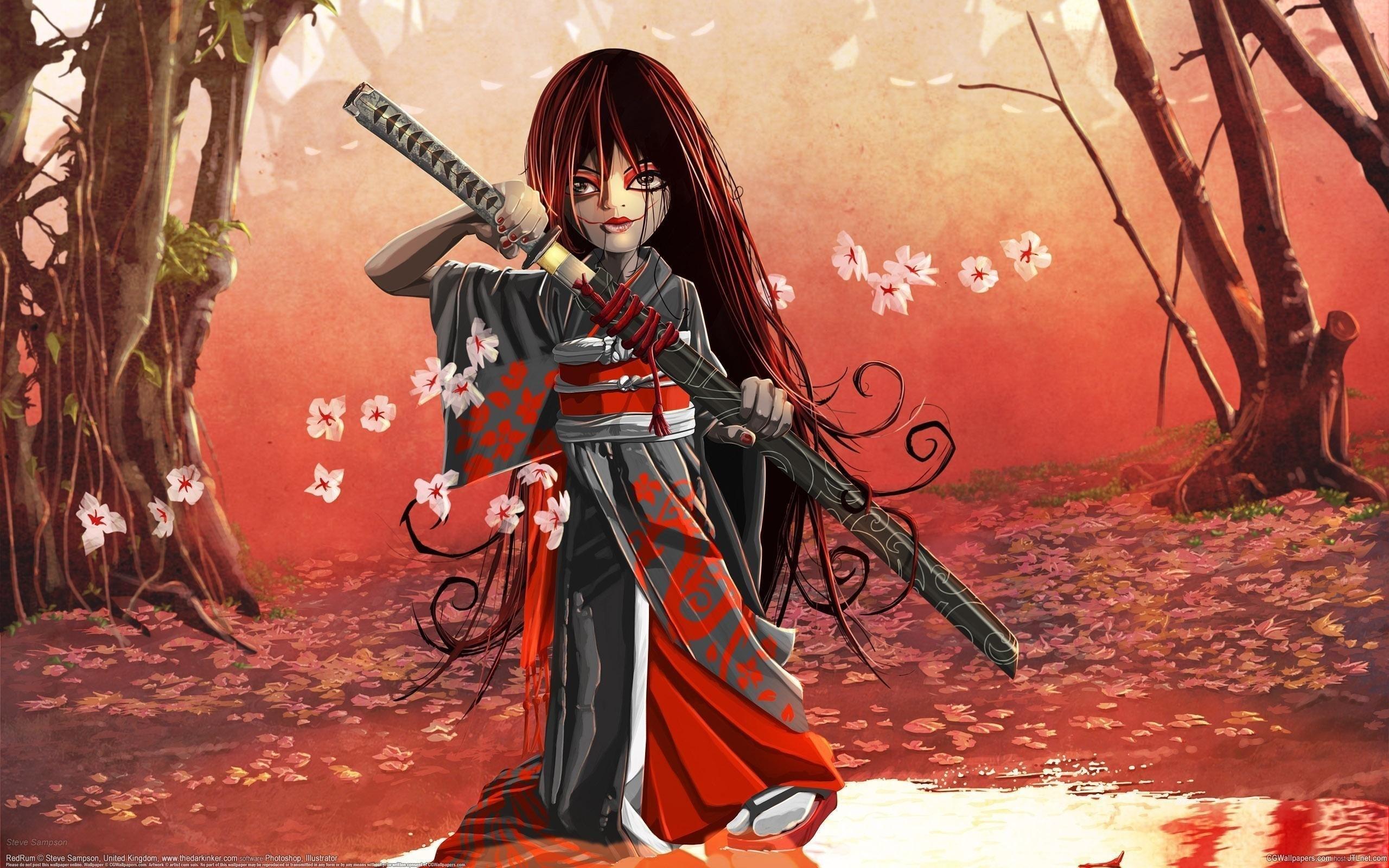 Девушки аниме с мечами на рабочий стол
