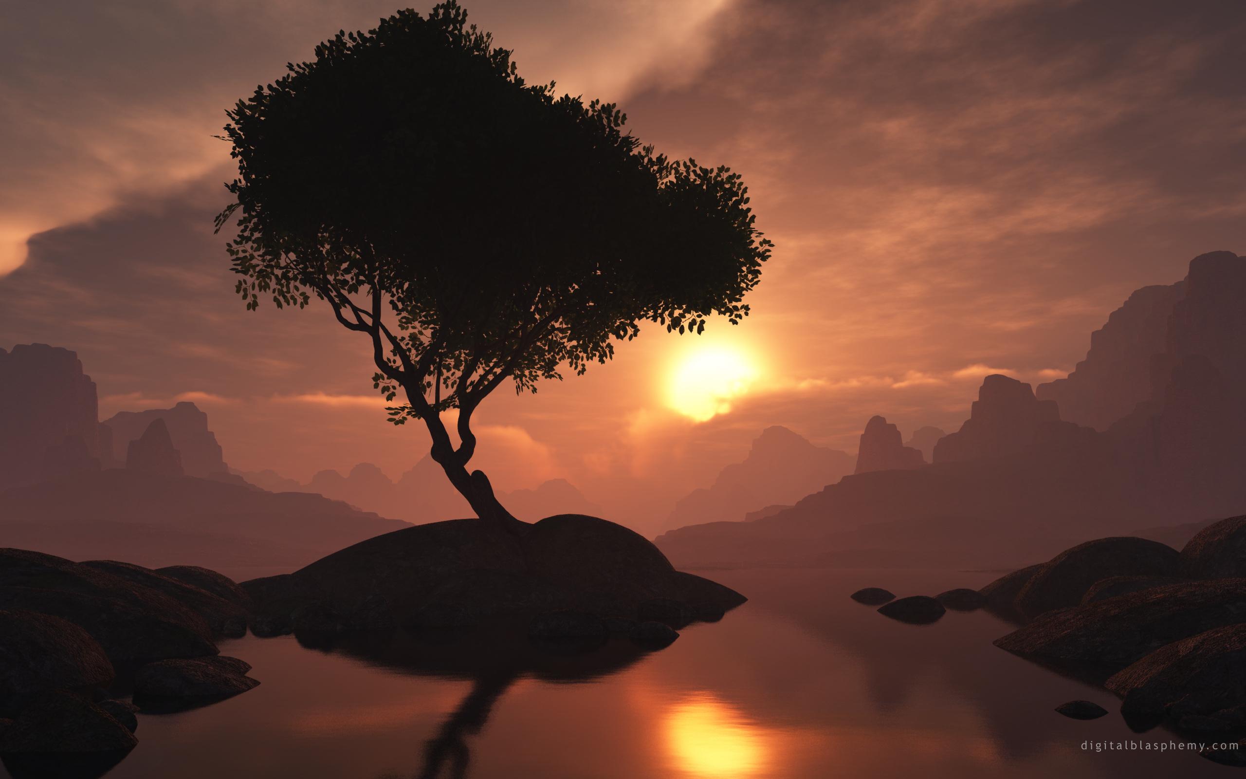 горы рассвет деревья вода  № 3850874 без смс