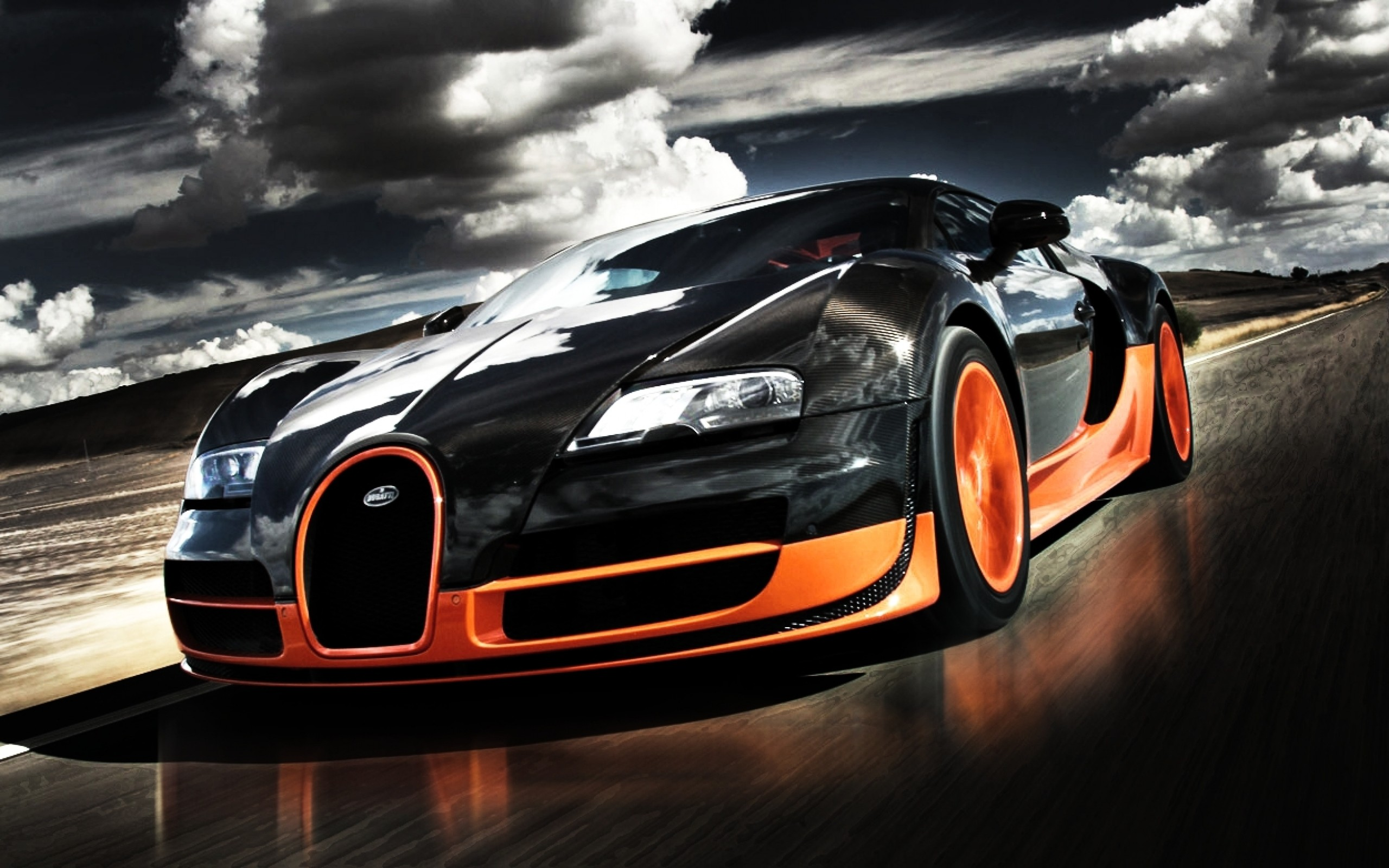 Bugatti Veyron дорога рассвет бесплатно