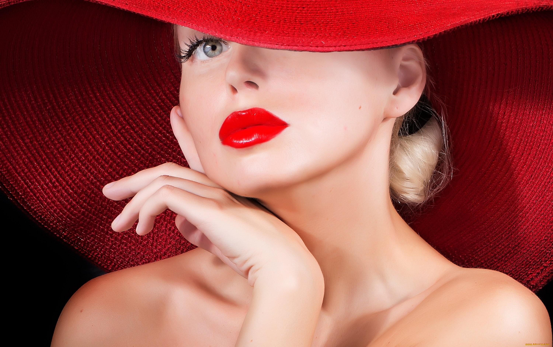 девушка взгляд шляпка красная лицо  № 1867458 без смс