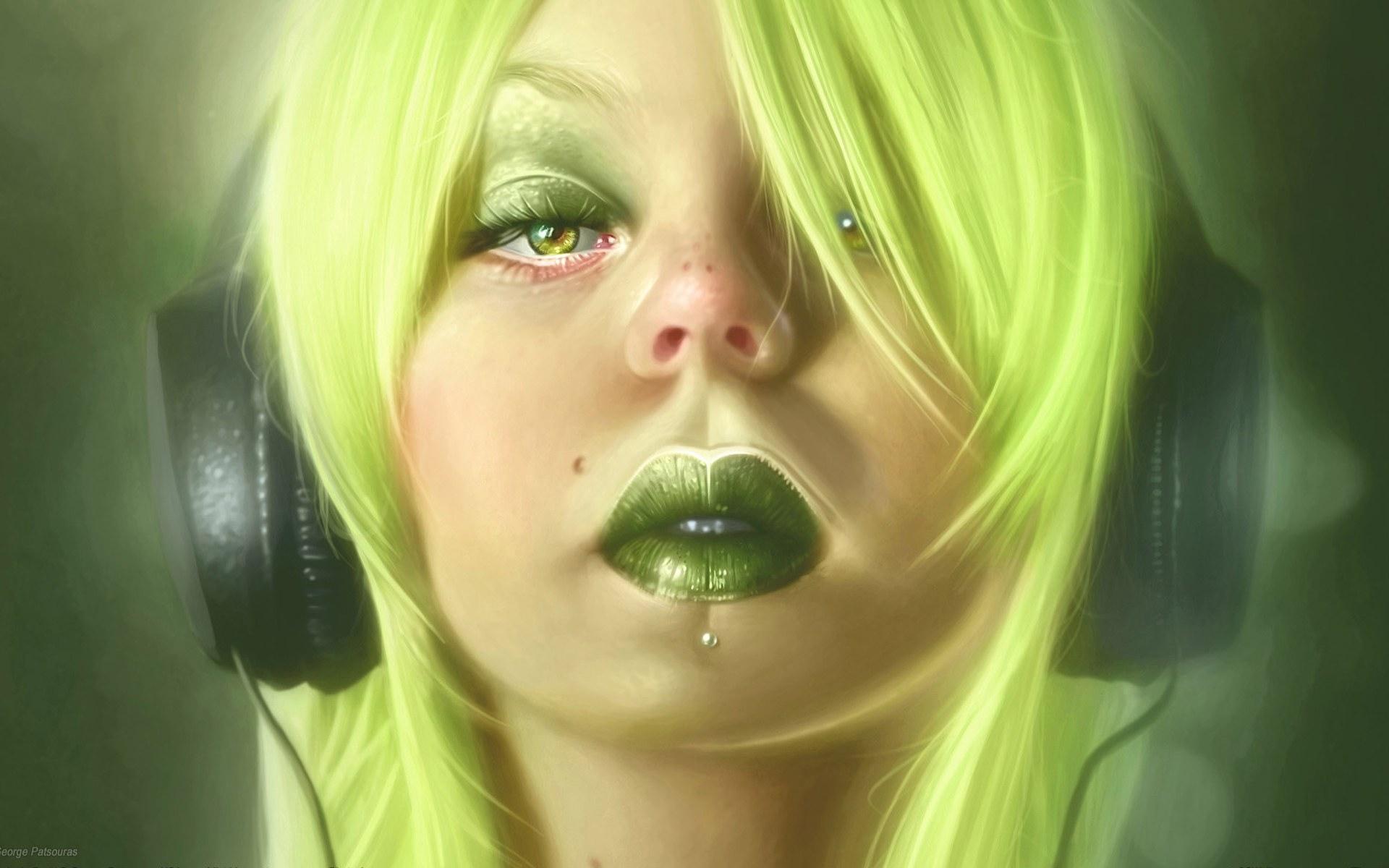 Девочка с зелеными темнями  № 176493  скачать