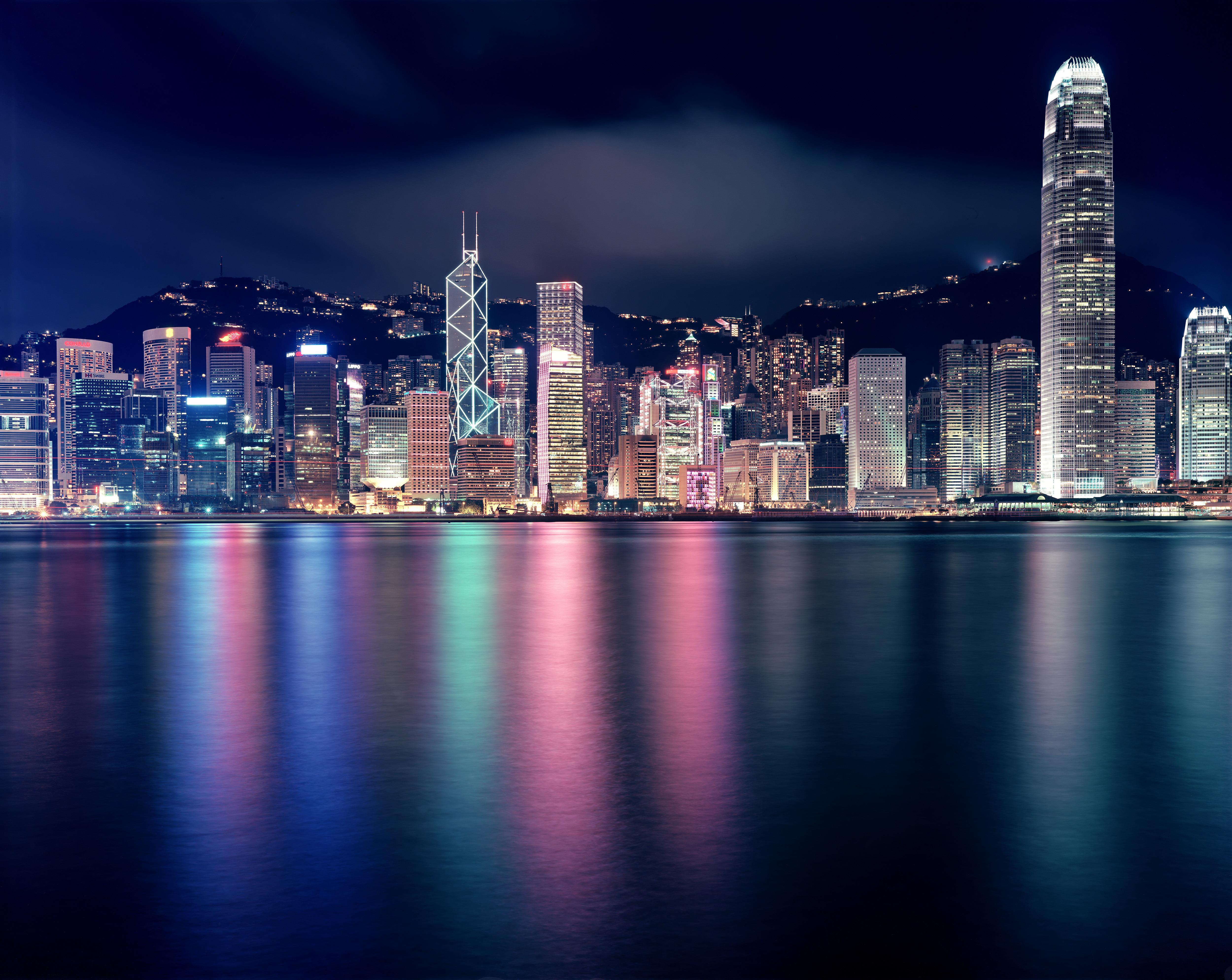 Гонконг архитектура ночь город страны  № 2229765  скачать