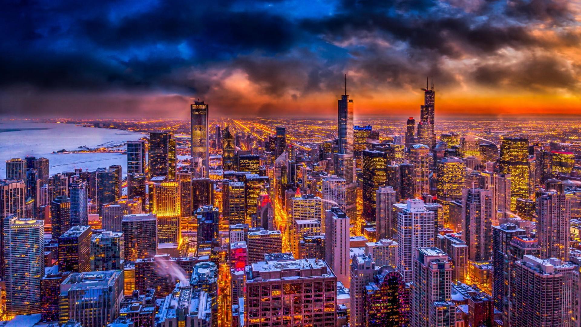 небоскребы закат город skyscrapers sunset the city  № 683742  скачать